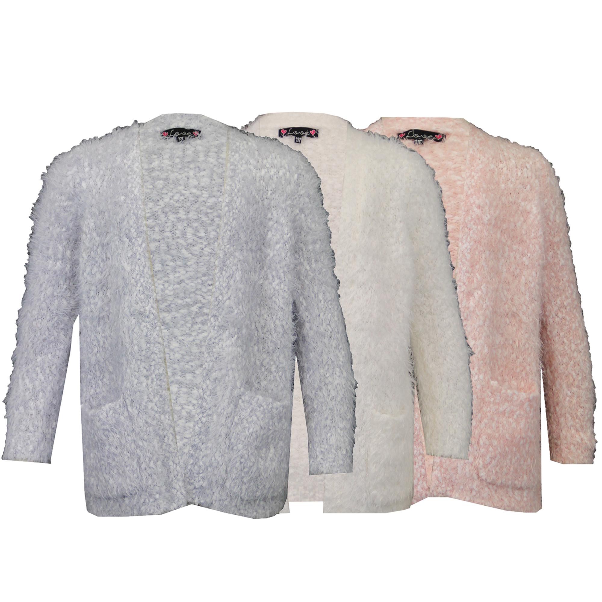 Girls Mohair Cardigan Kids Popcorn Top Open Front Love Knitwear ...