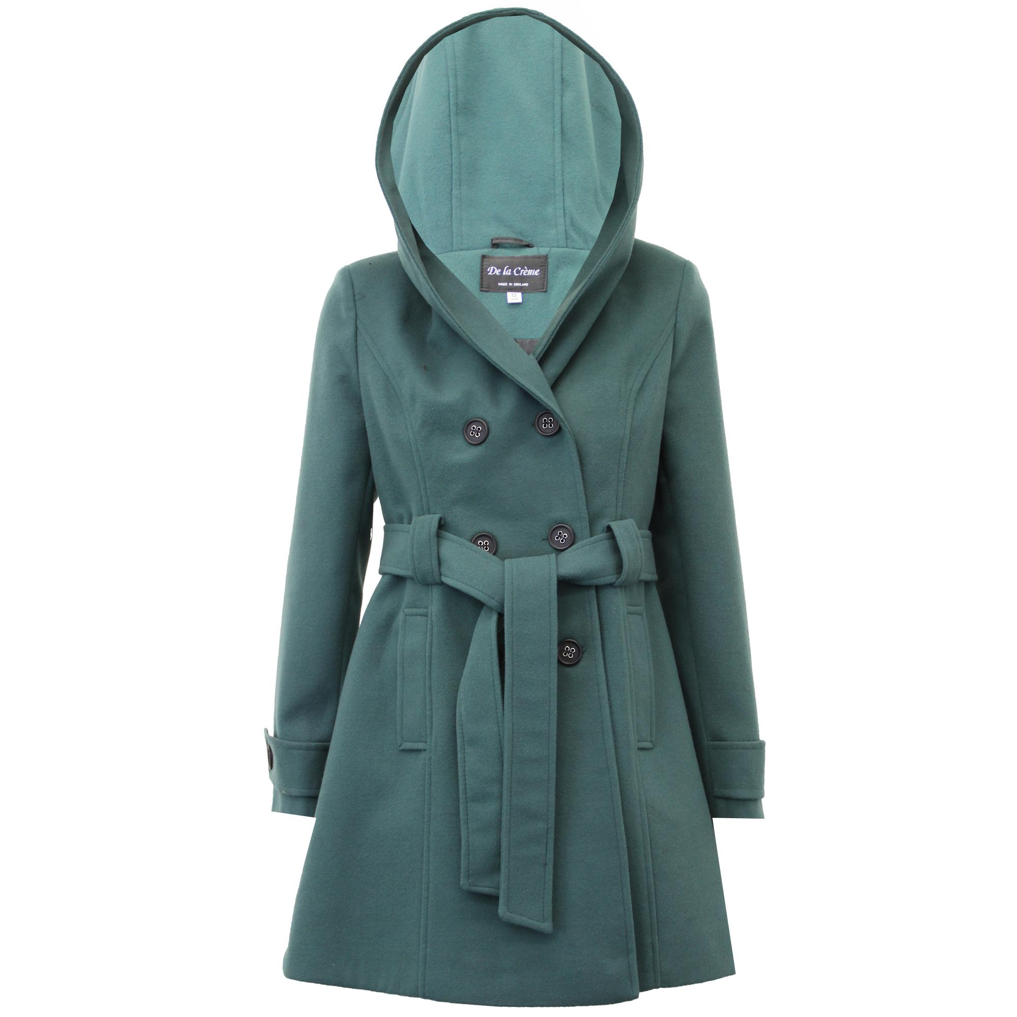 Ladies Coat Womens Jacket Wool Look Faux Fur Button Long ...