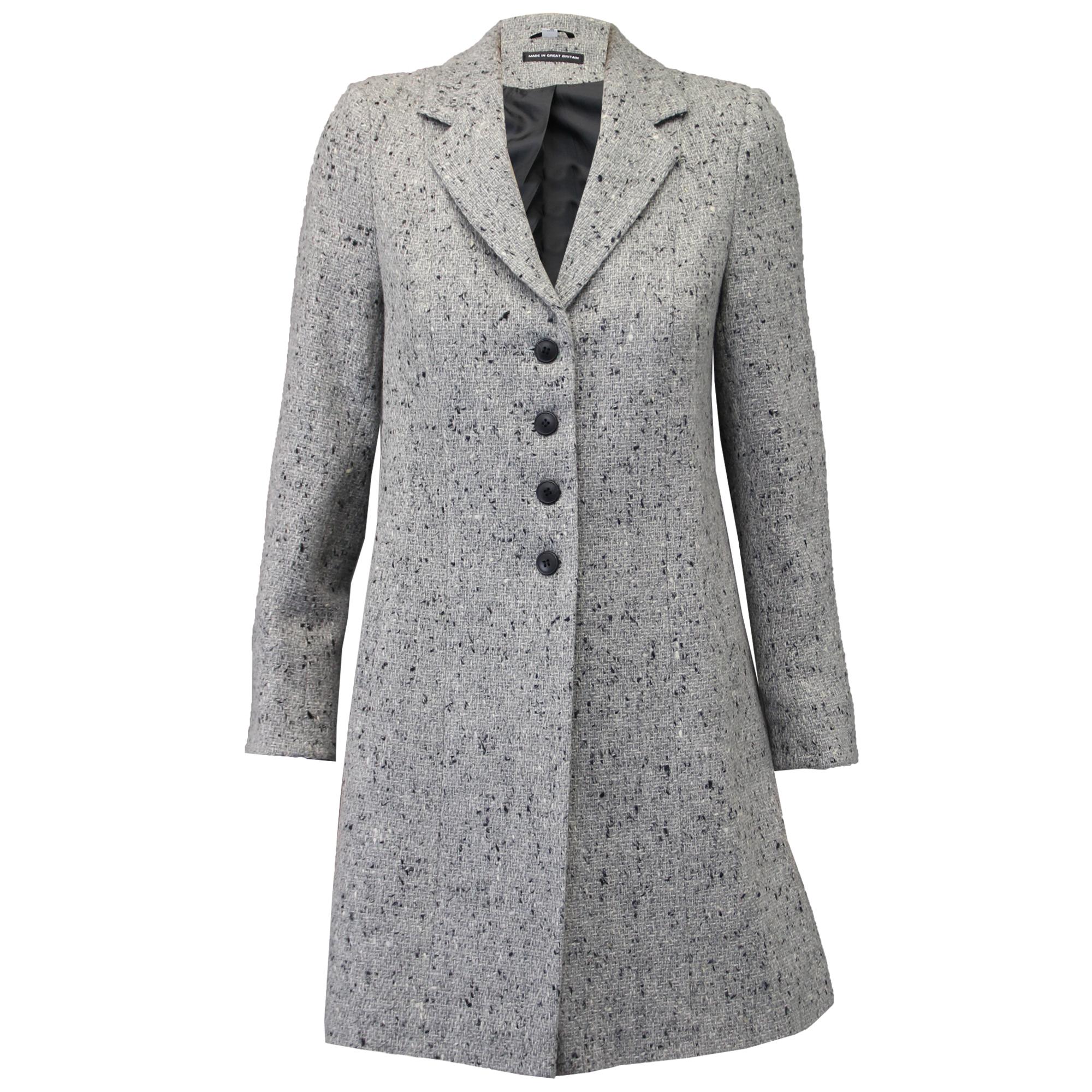 Ladies Coat Womens Jacket Wool Look Military Long Button ...