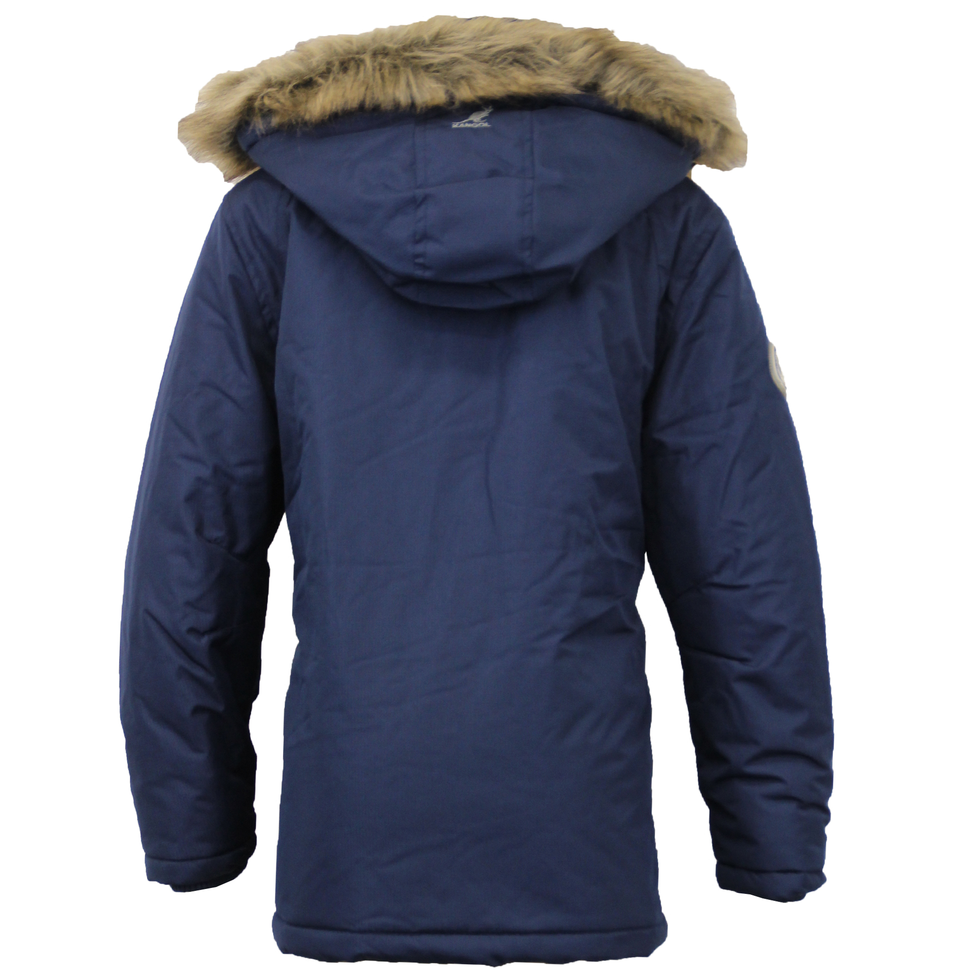 Boys Parka Jacket Kangol Coat Kids Padded Quilted Hooded Faux Fur ...