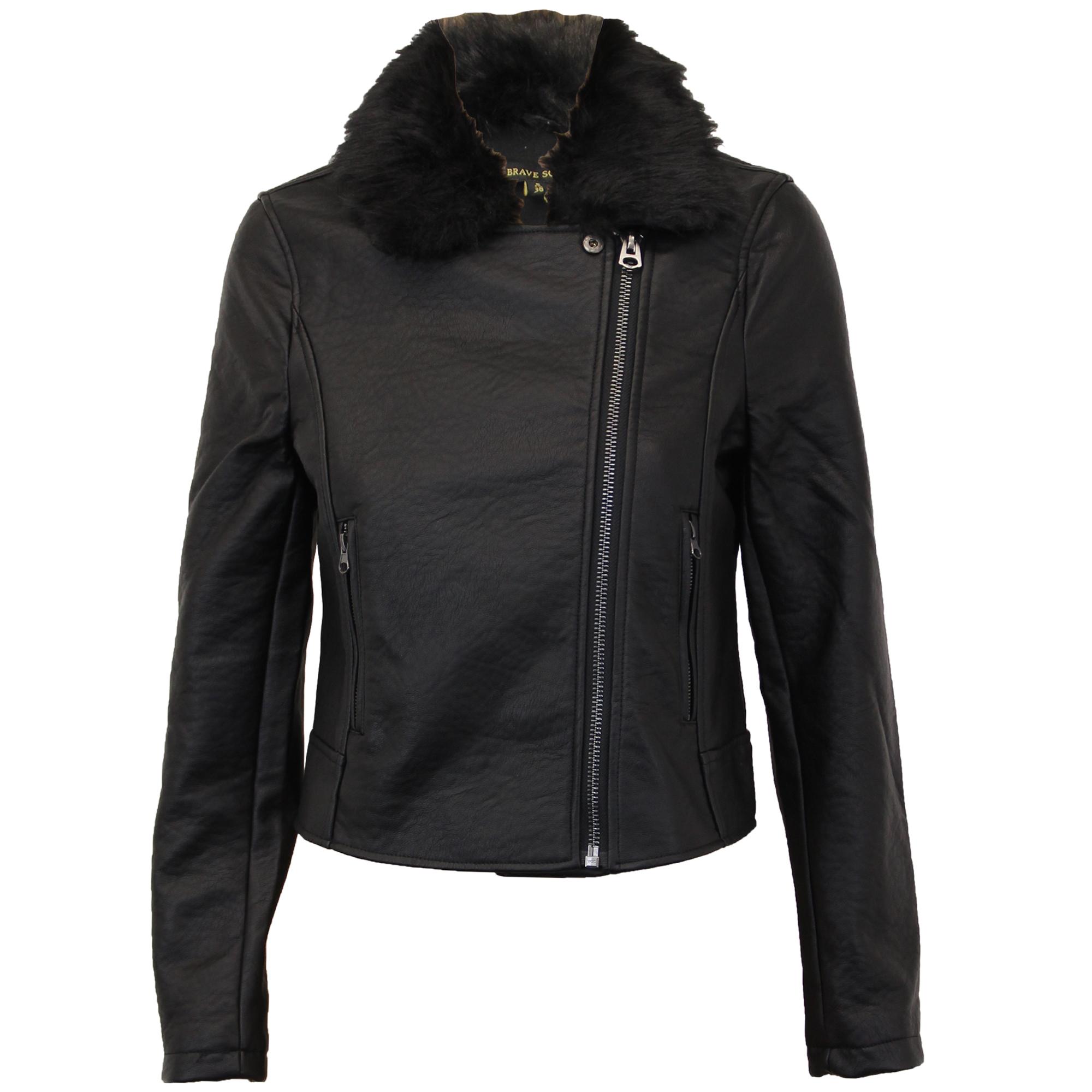 Ladies Biker Jacket Brave Soul Womens Coat PU PVC Leather ...