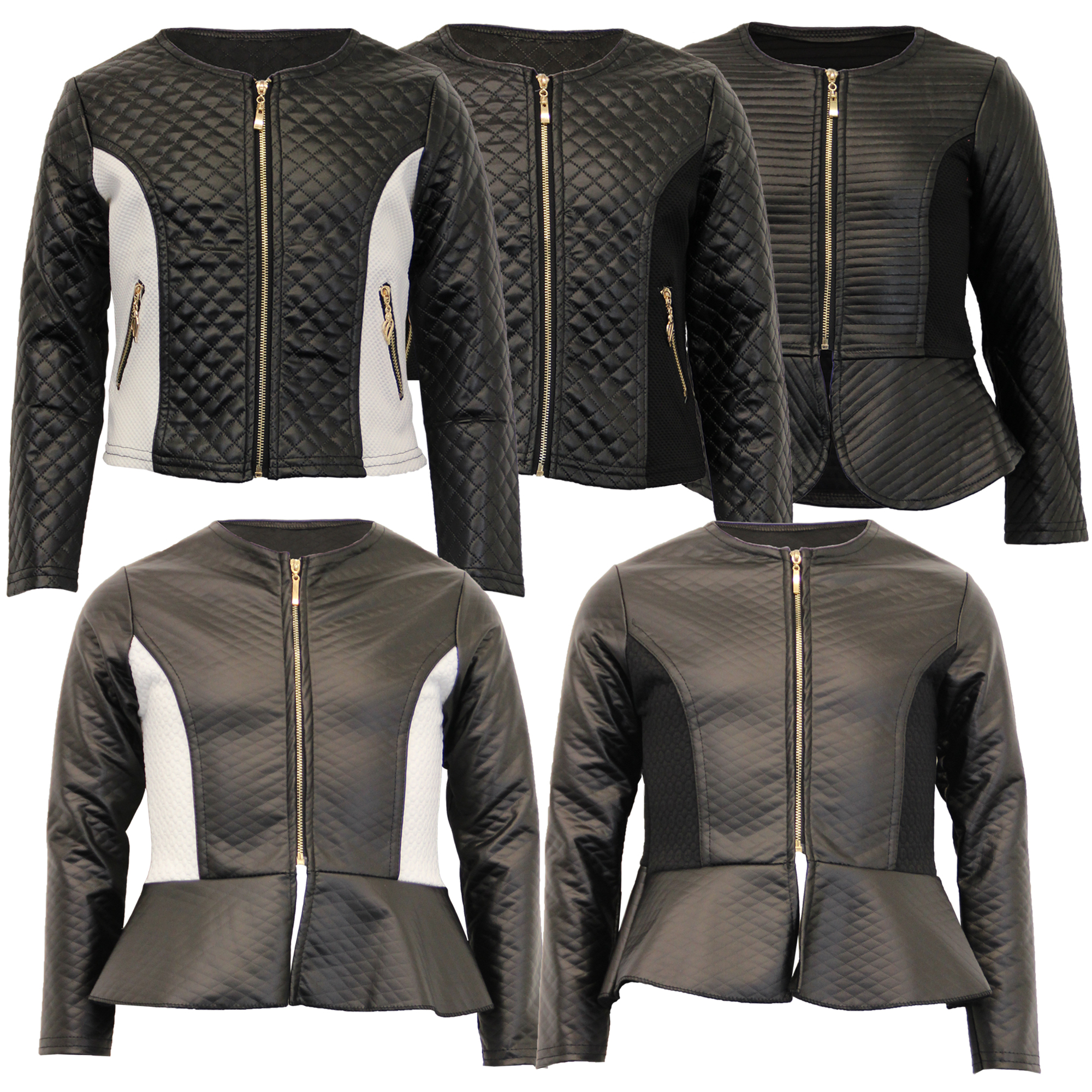 Leather jacket new look - Girls Biker Jacket Kids Diamond Quilted Pvc Leather