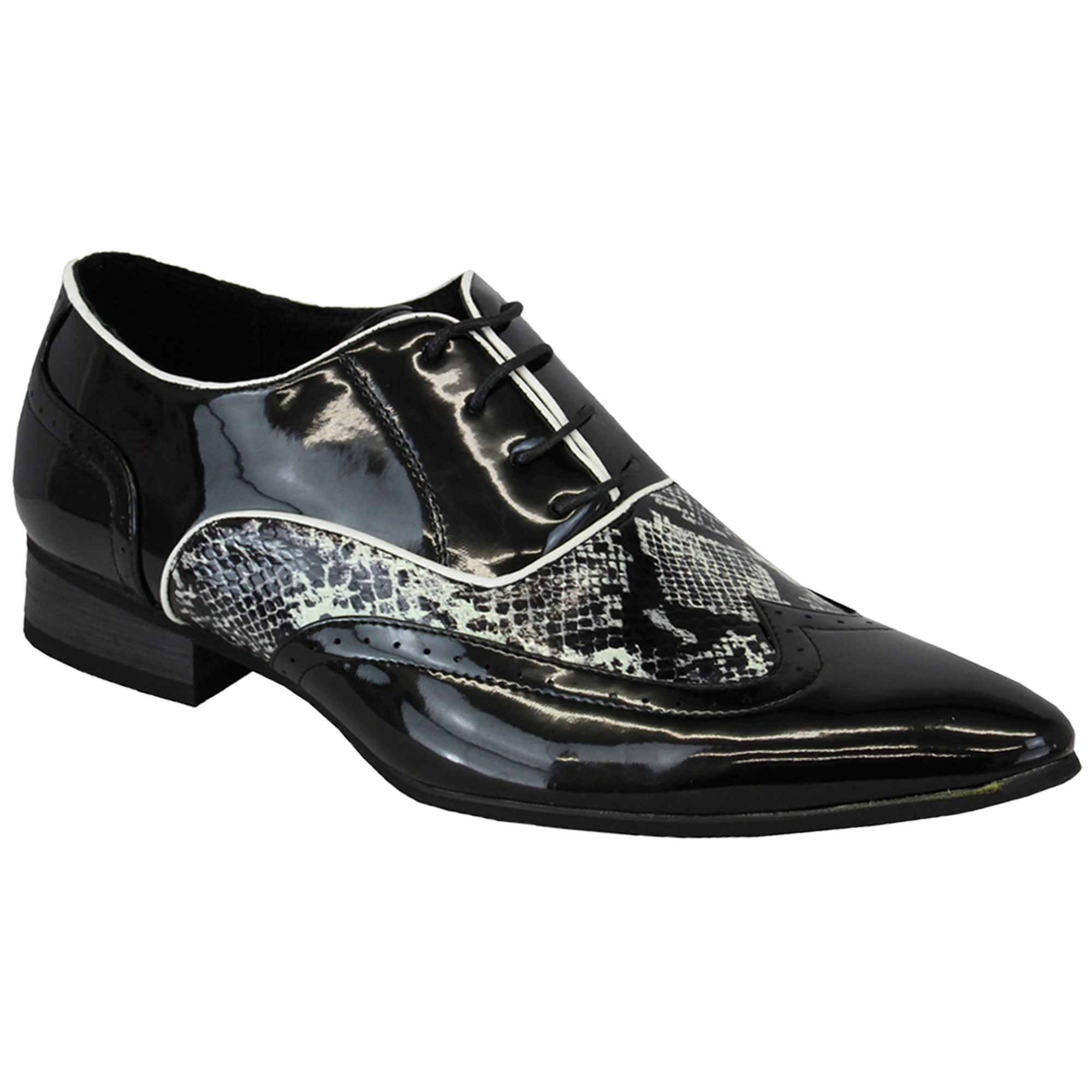mens italian shoes brogue formal two tone lace up patent