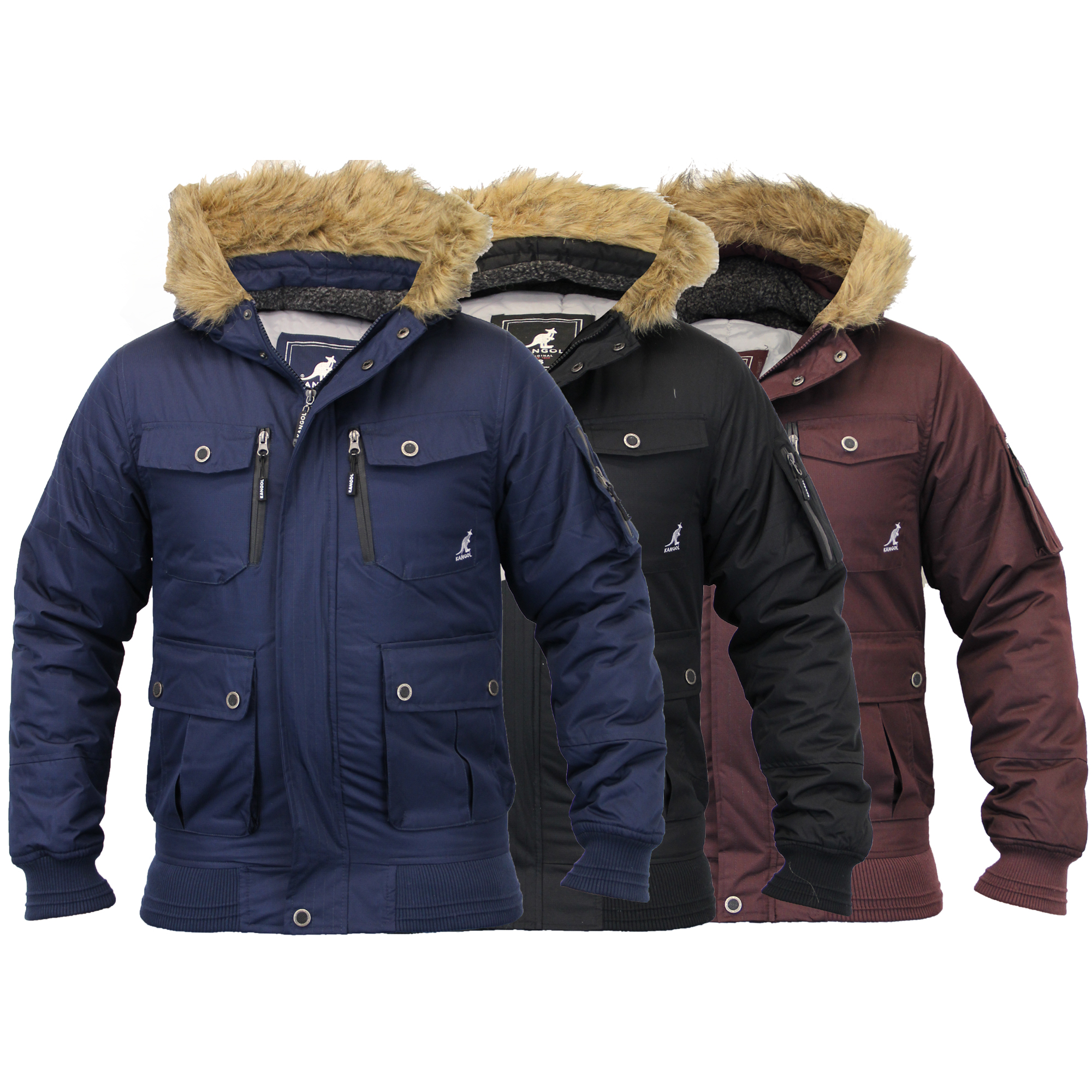 Mens Short Parka Jacket Kangol Coat Padded Quilted Hood Fur Sherpa ...