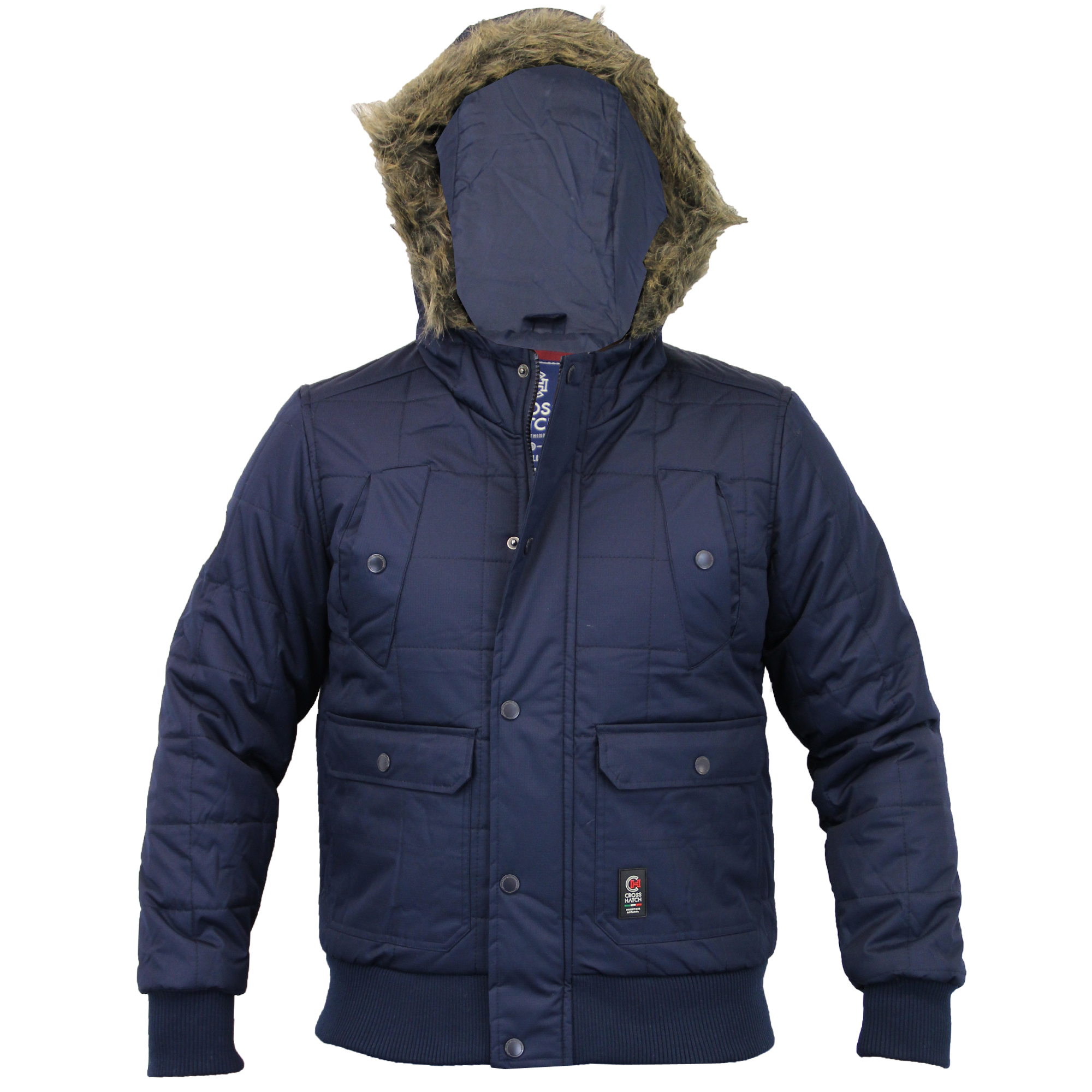 Mens Short Parka Jacket Crosshatch Coat Padded Quilted Hooded Fur ...