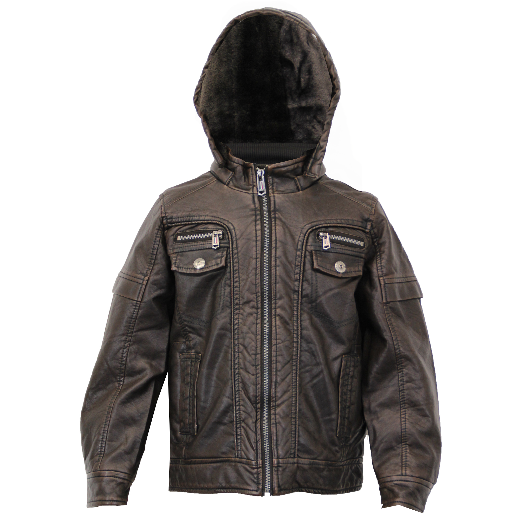 gar ons cuir look veste enfants manteau en simili cuir pvc matelass e capuche sherpa polaire. Black Bedroom Furniture Sets. Home Design Ideas