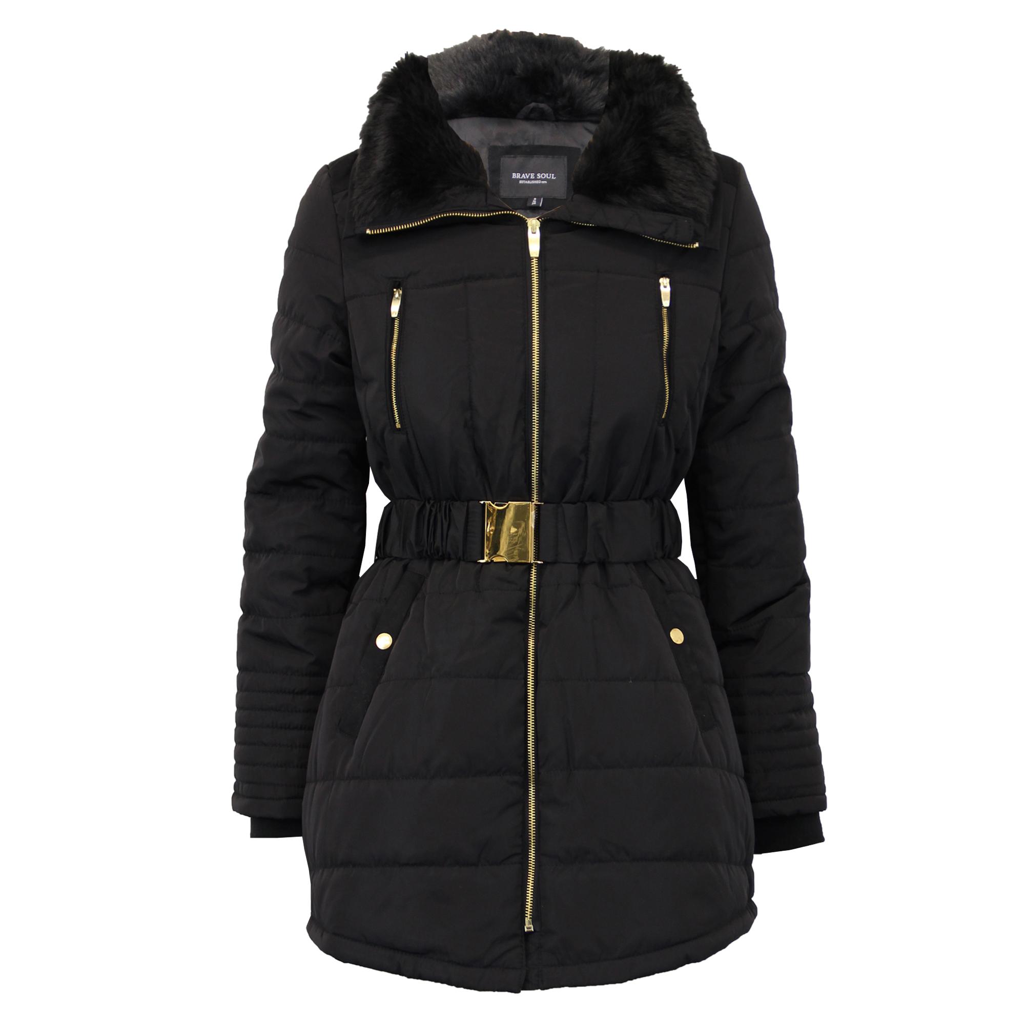 ladies parka jacket womens brave soul coat padded hooded. Black Bedroom Furniture Sets. Home Design Ideas