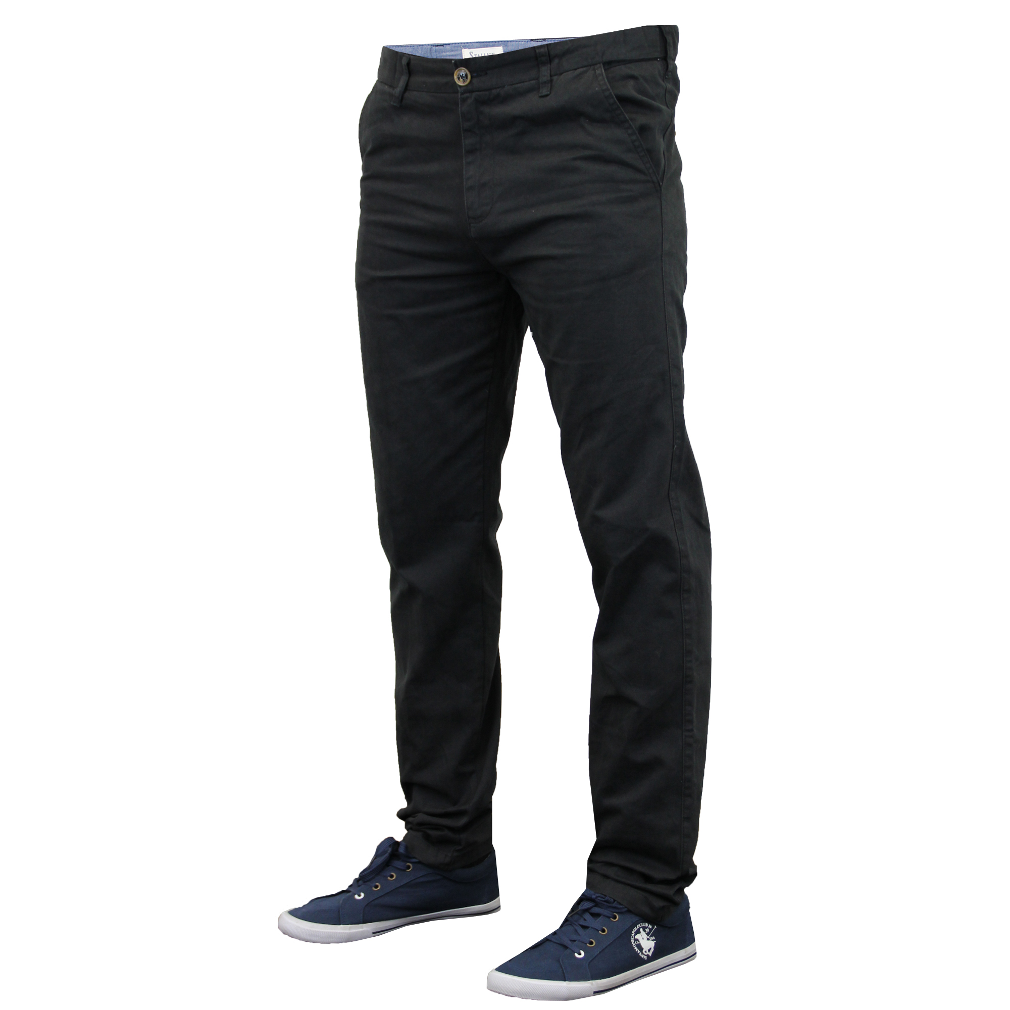 Pastel-colored pants in blue look great with white or with shirts of a similar intensity; a pale pink shirt is a great match. Similarly, dark green pants would work wonderfully with a charcoal sweater or dark red T-shirt. All chinos come with a flat-front design and tailored fit. Shorts offer the same versatility.
