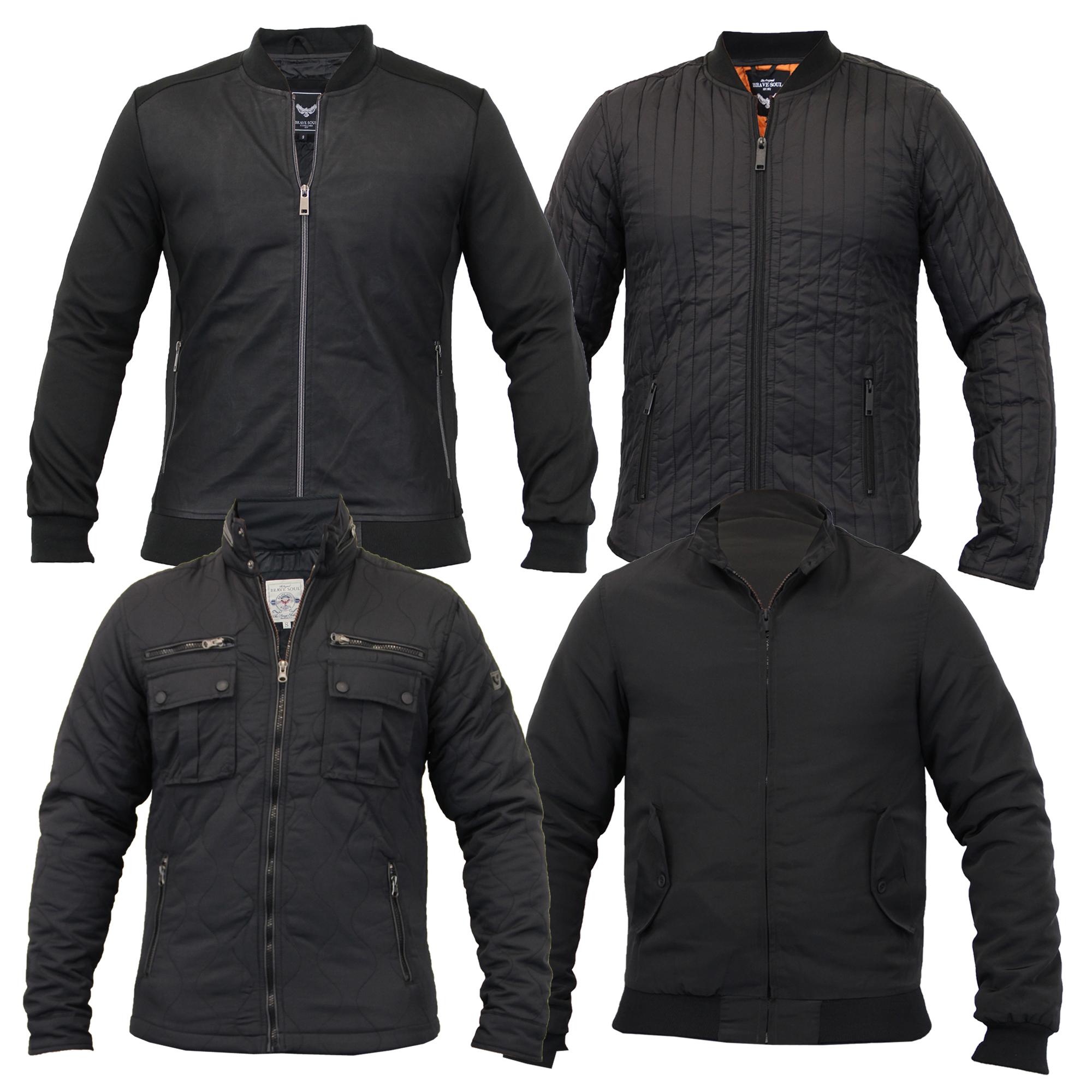 mens jacket brave soul coat padded quilted funnel neck. Black Bedroom Furniture Sets. Home Design Ideas