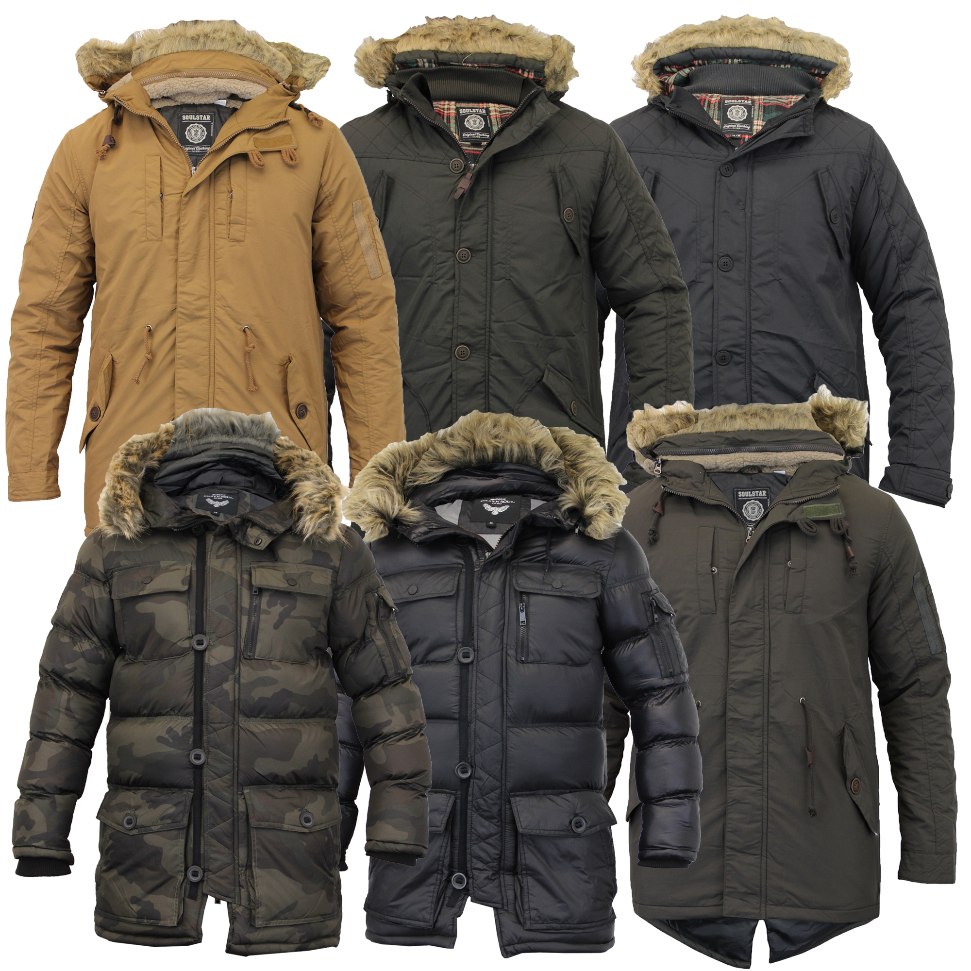 e89cd06f9bef Mens Parka Jacket Brave Soul Coat Padded Quilted Hooded Puffer Fur .