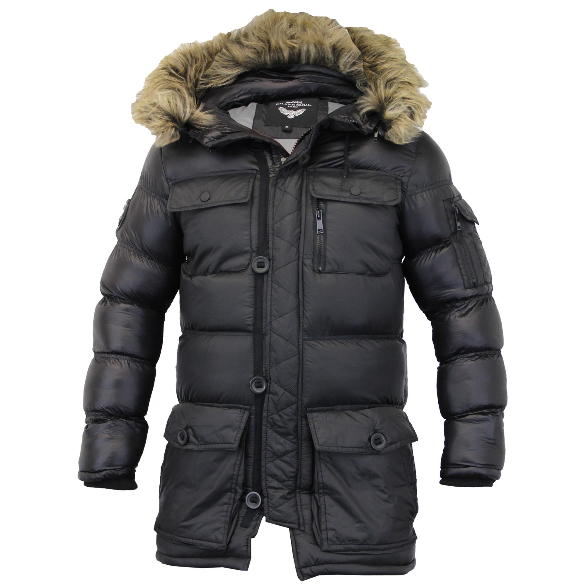 mens parka jacket brave soul coat padded quilted hooded puffer fur #2: black 201
