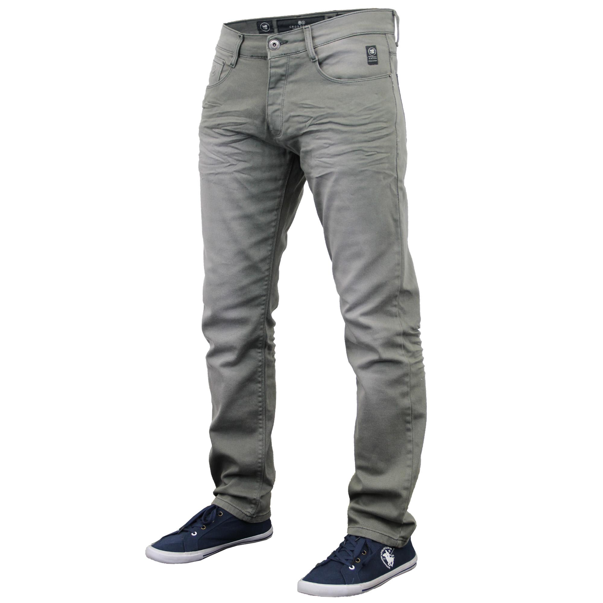 Mens Denim Jeans Crosshatch Pants Skinny Slim Fit Trouser Ruched ...