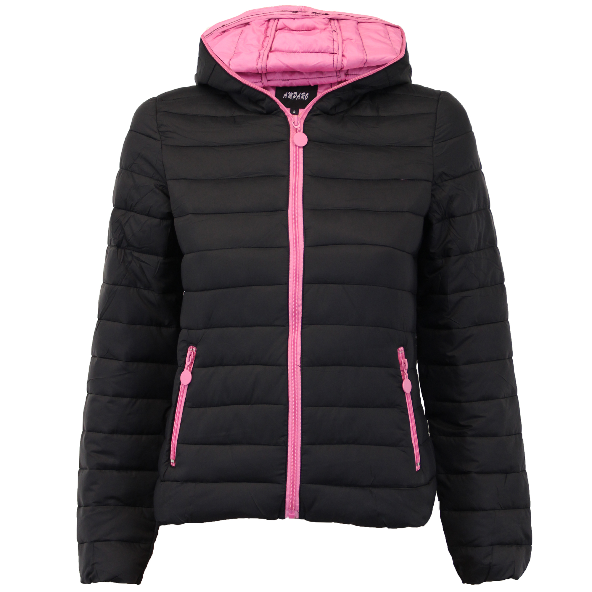 Ladies Padded Jacket Womens Coat Quilted DOWN Hooded Funnel Neck Lined Winter | EBay