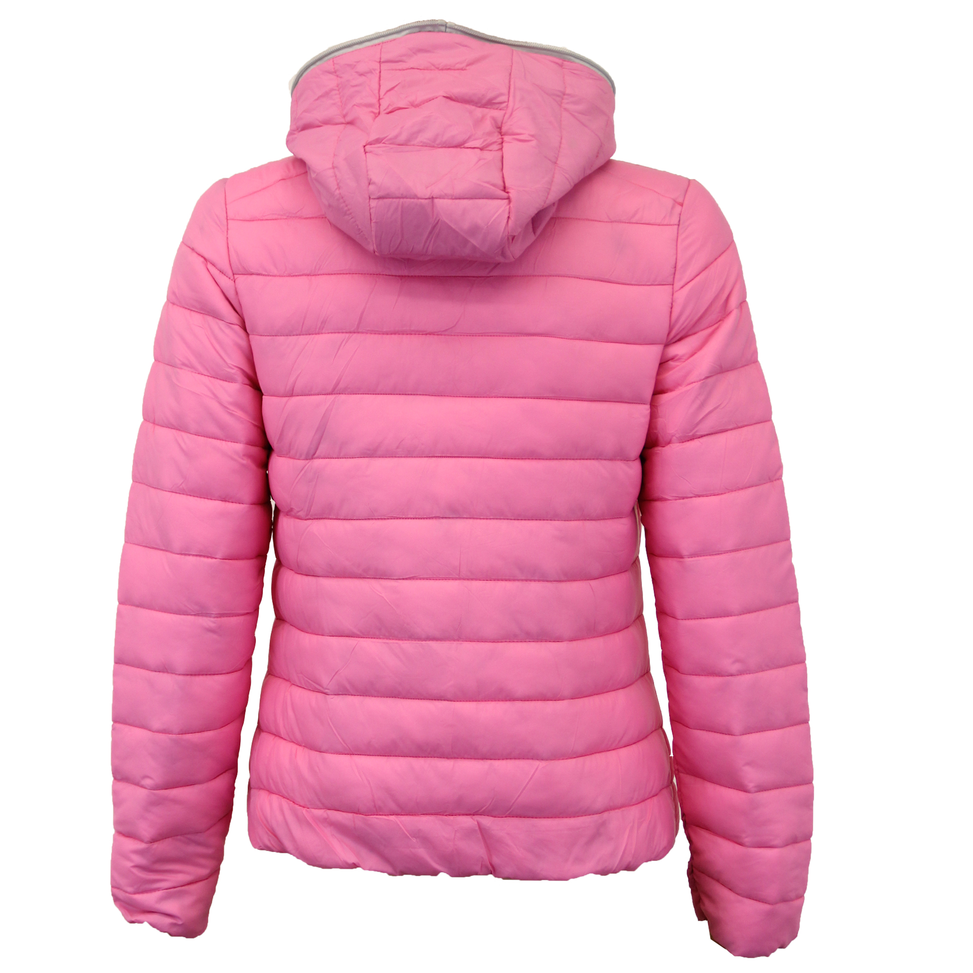 Ladies Padded Jacket Womens Coat Quilted DOWN Hooded Funnel Neck ...
