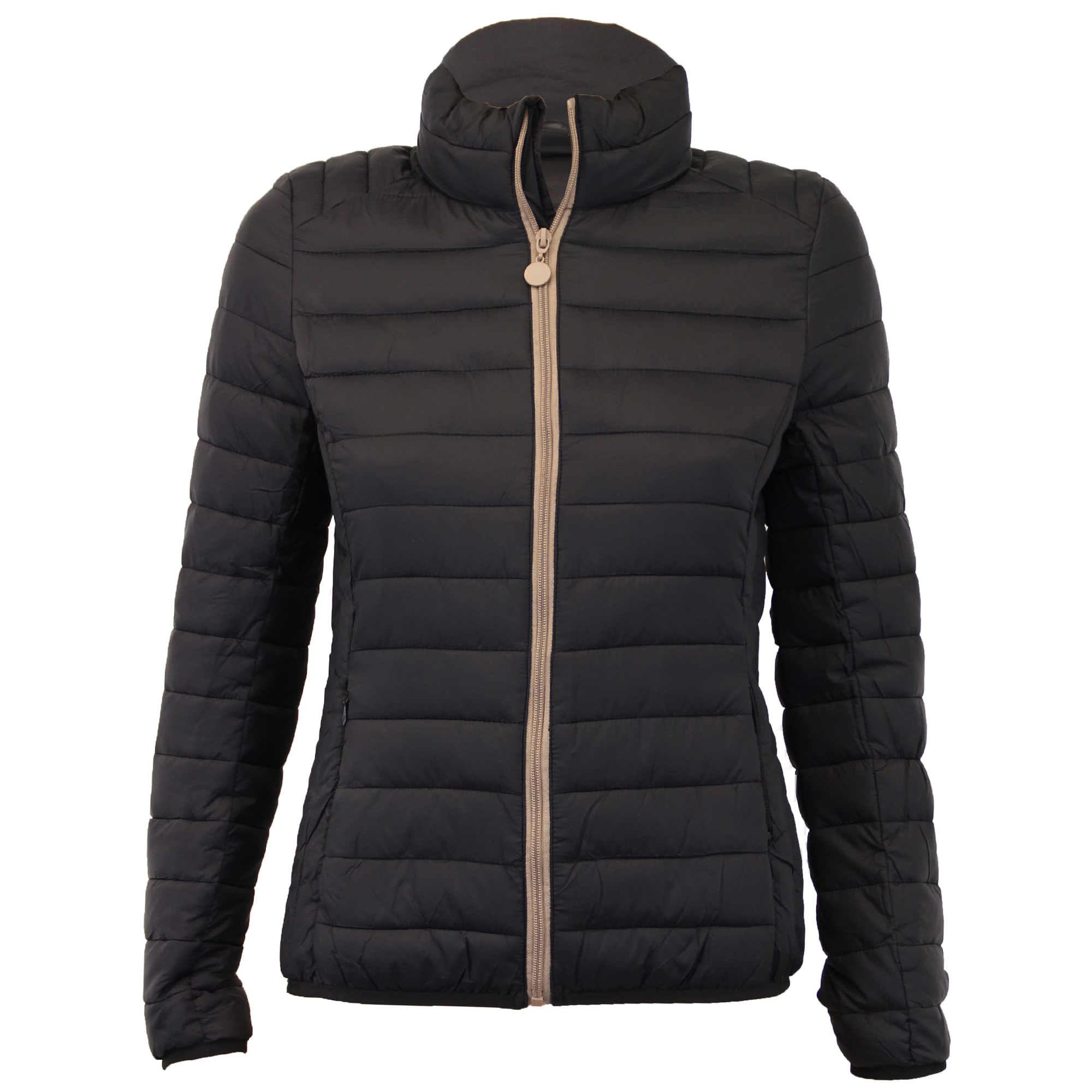 Types of women's quilted lightweight jackets. You can find these cozy items in mid-length and longer styles. Vests are also available. Most have outer shells made of synthetic materials such as nylon.