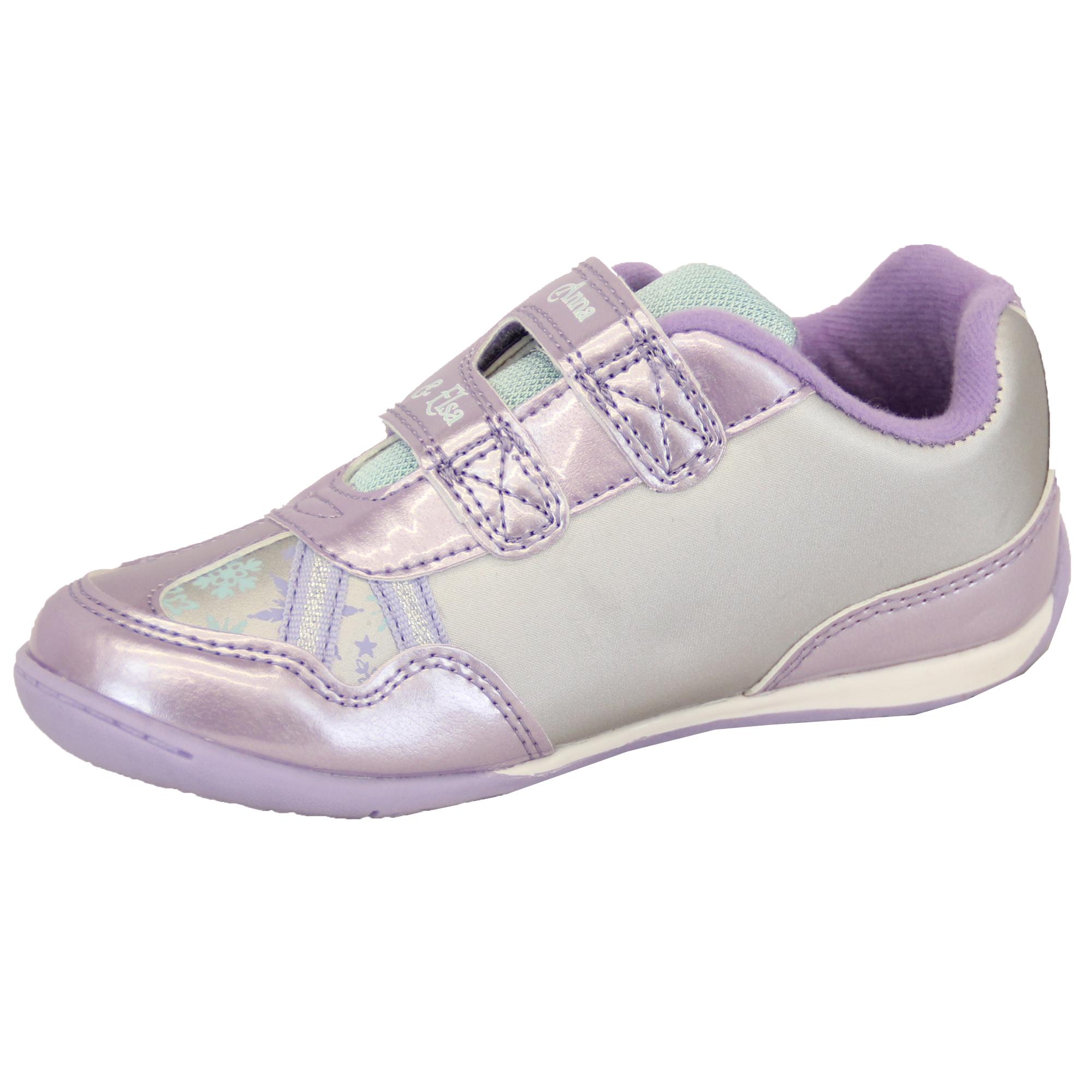 Girls Trainers Disney Frozen ANNA ELSA Lilac Shoes Glitter Velcro Crown Sports