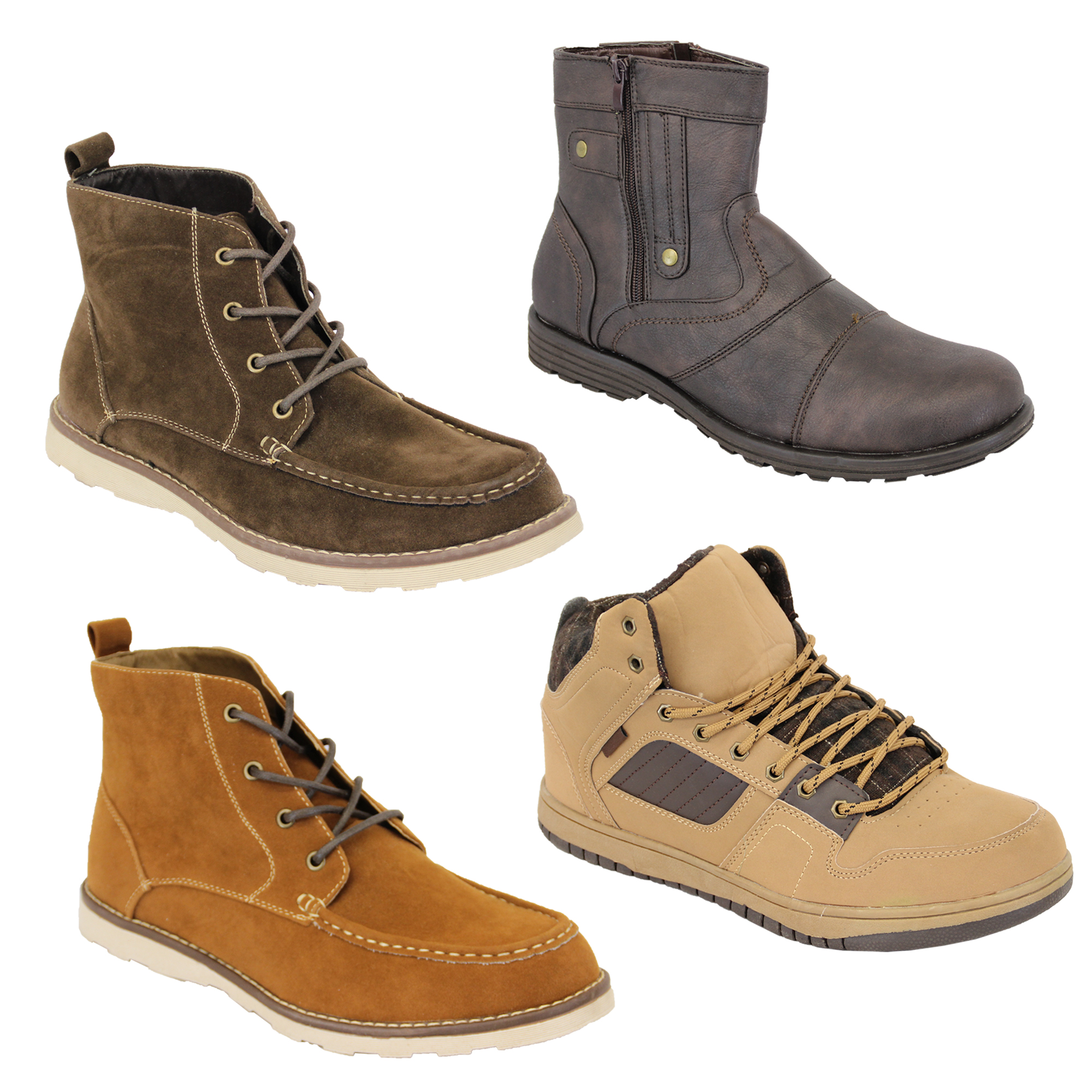 mens boots high ankle top suede look chukka desert shoes
