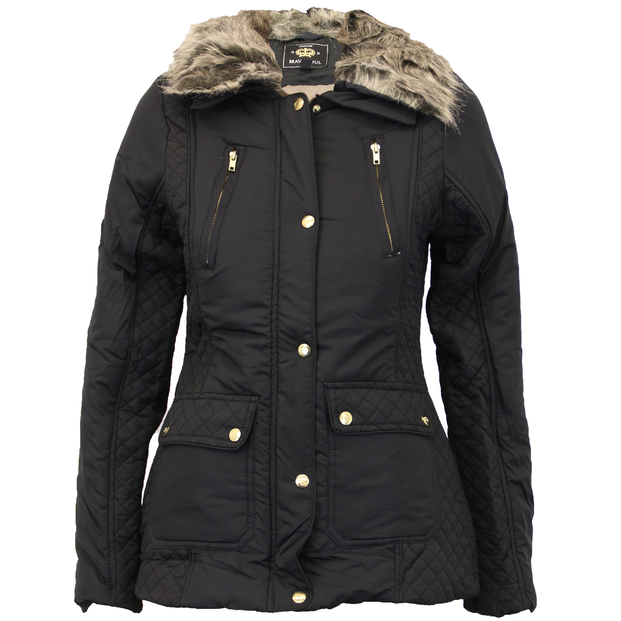 Ladies Parka Jacket Womens Brave Soul Coat Padded Hooded Fur BELT