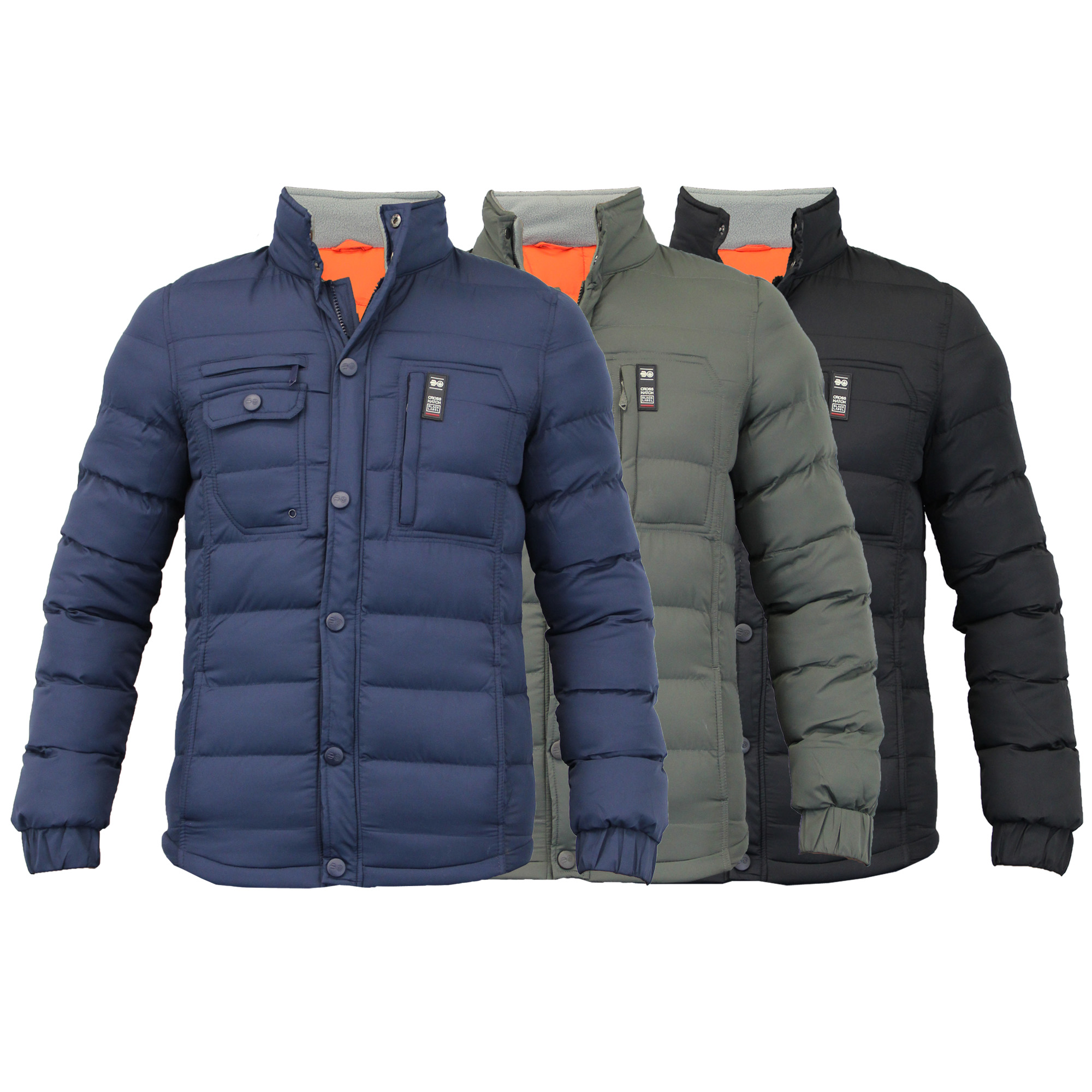 Mens Jacket Crosshatch Coat Quilted Padded Funnel Neck Fleece ...