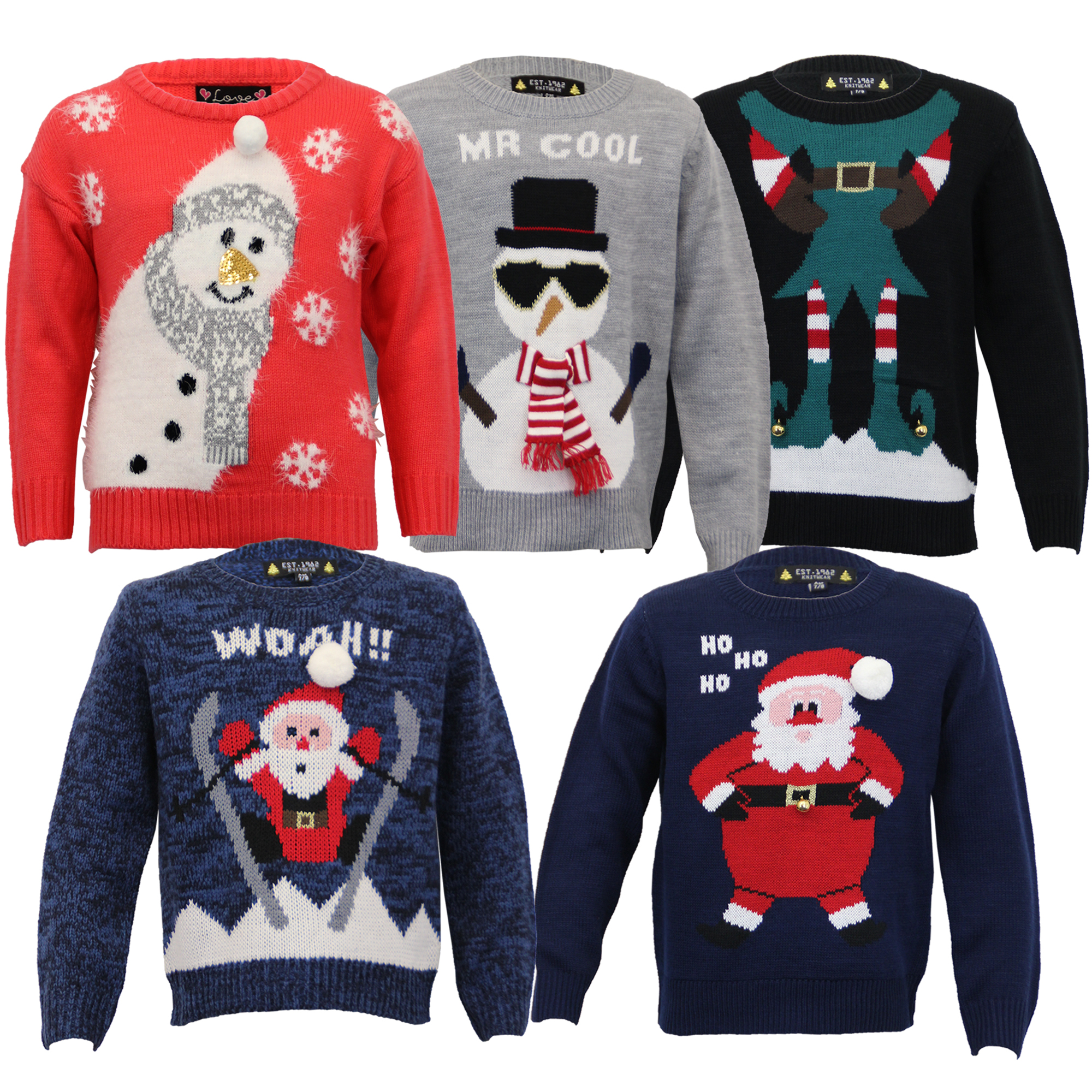 boys christmas girls jumper xmas kids santa snowman. Black Bedroom Furniture Sets. Home Design Ideas