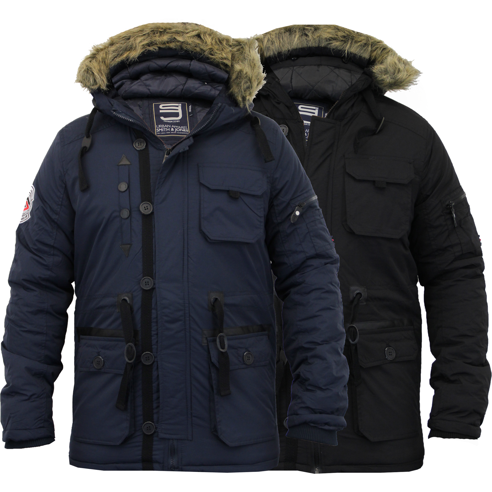 Mens Parka Jacket Smith & Jones Coat Padded Quilted Fur Hooded ...