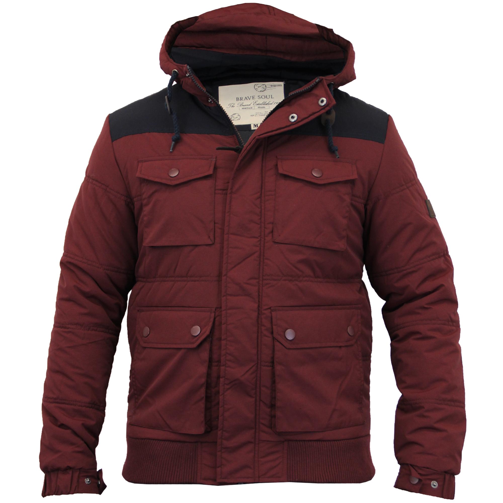 mens jacket brave soul coat padded hooded casual lined. Black Bedroom Furniture Sets. Home Design Ideas