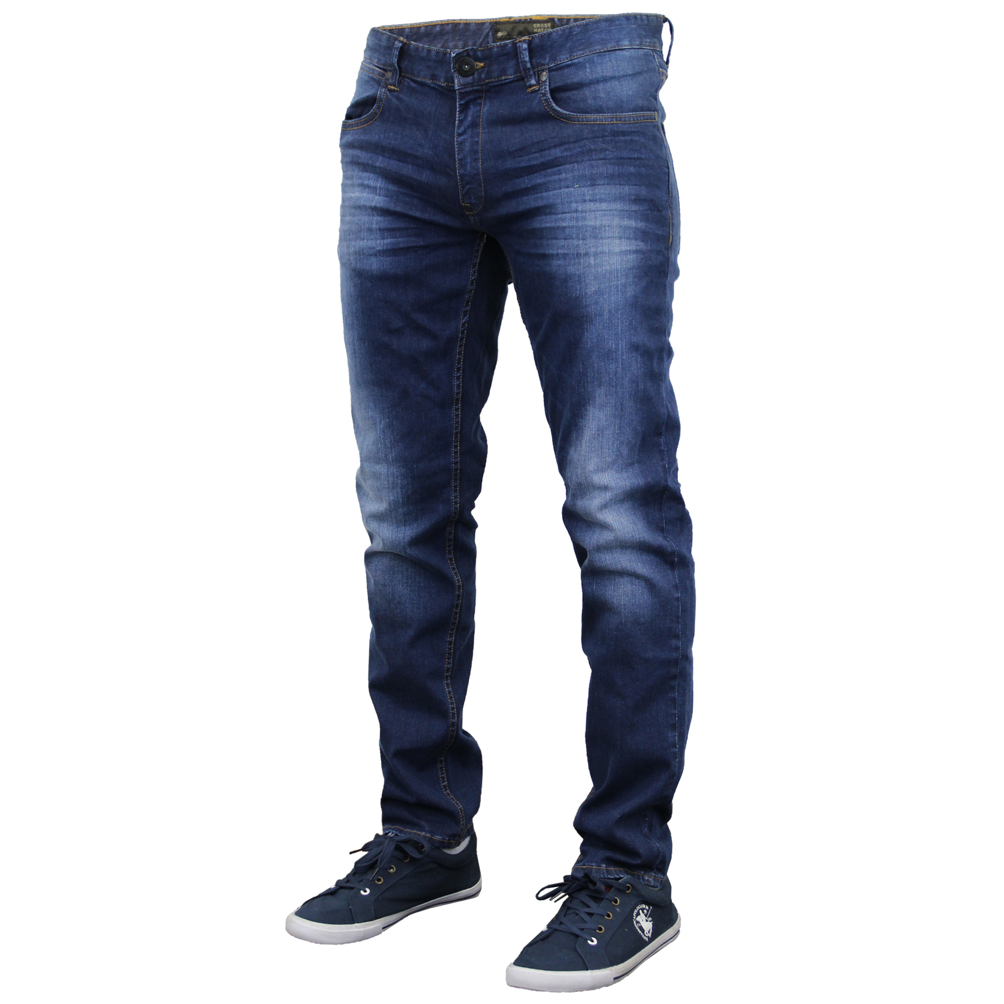 mens denim jeans crosshatch pants slim fit straight leg. Black Bedroom Furniture Sets. Home Design Ideas