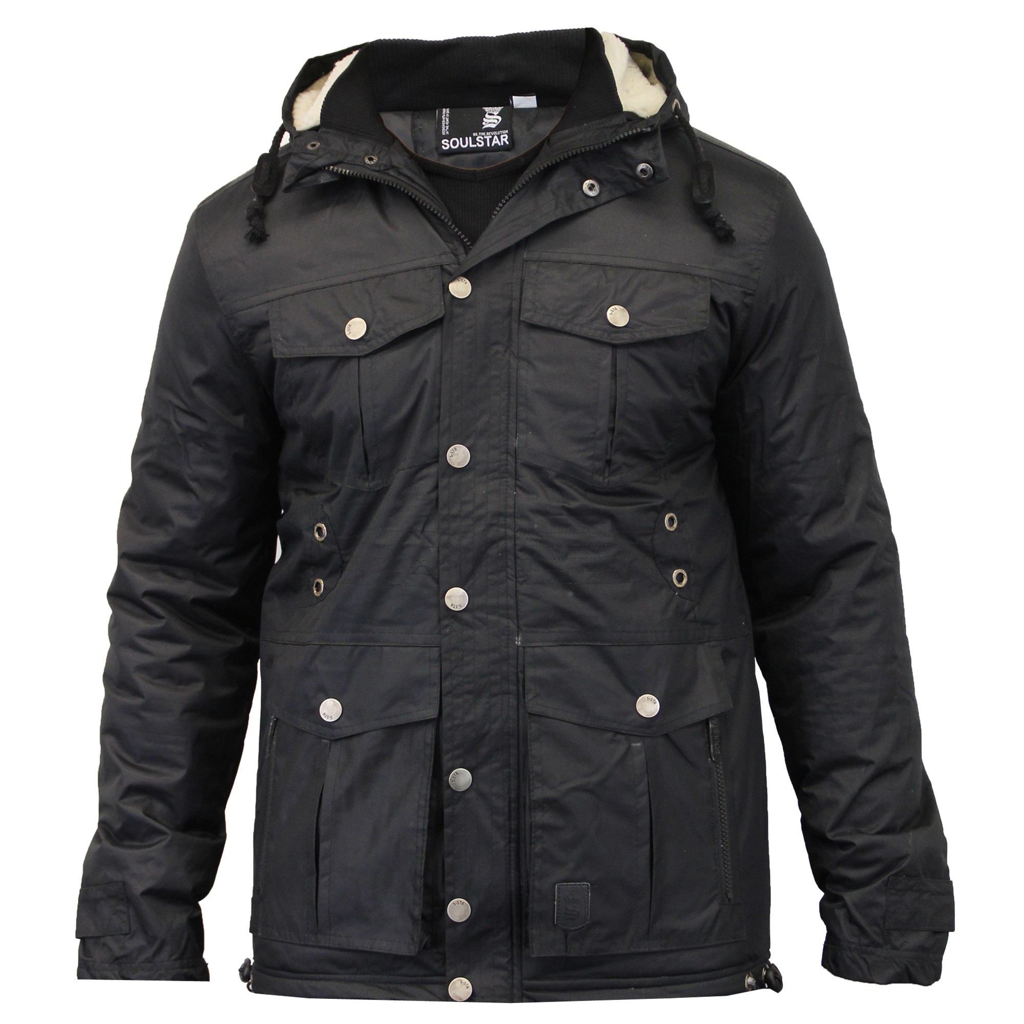 9808e2ec85ea Mens Parka Style Jacket Soul Star Coat Padded Quilted Hooded Faux .