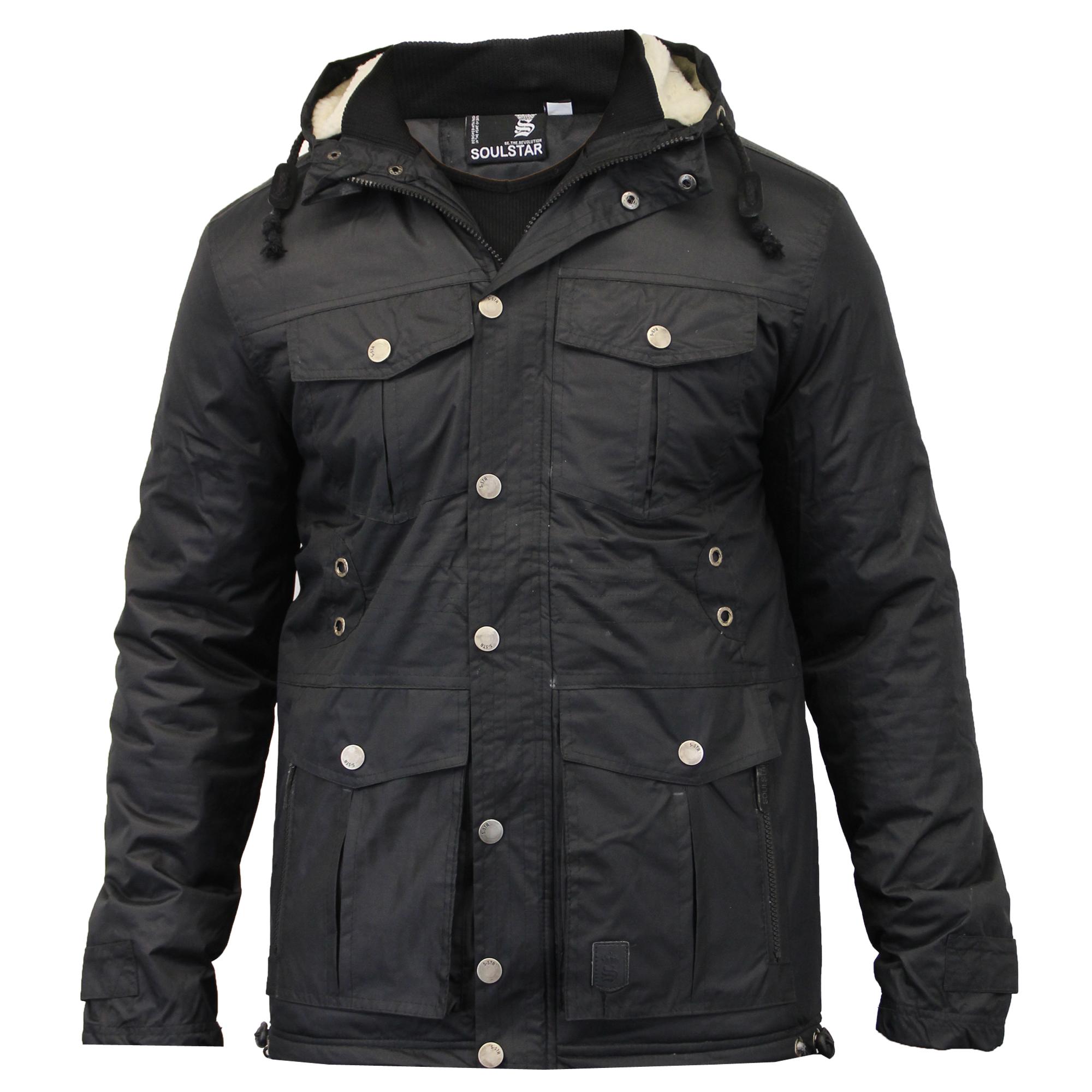 Mens jacket lined with fur - Mens Parka Style Jacket Soul Star Coat Padded