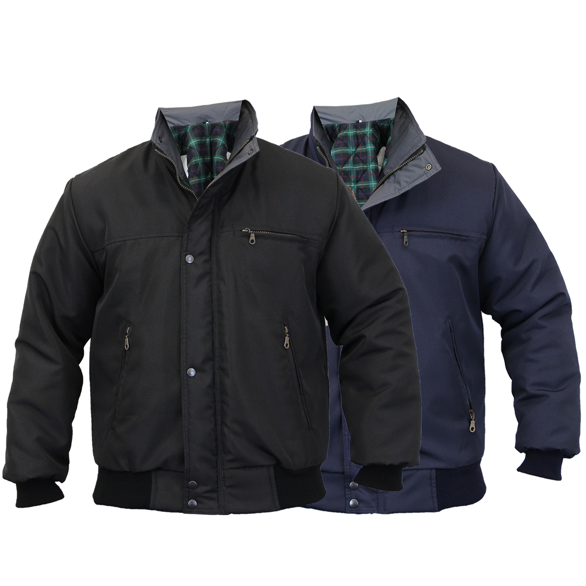Mens SKY DIVER Bomber Jacket Padded Coat Work Quilted Checked ...