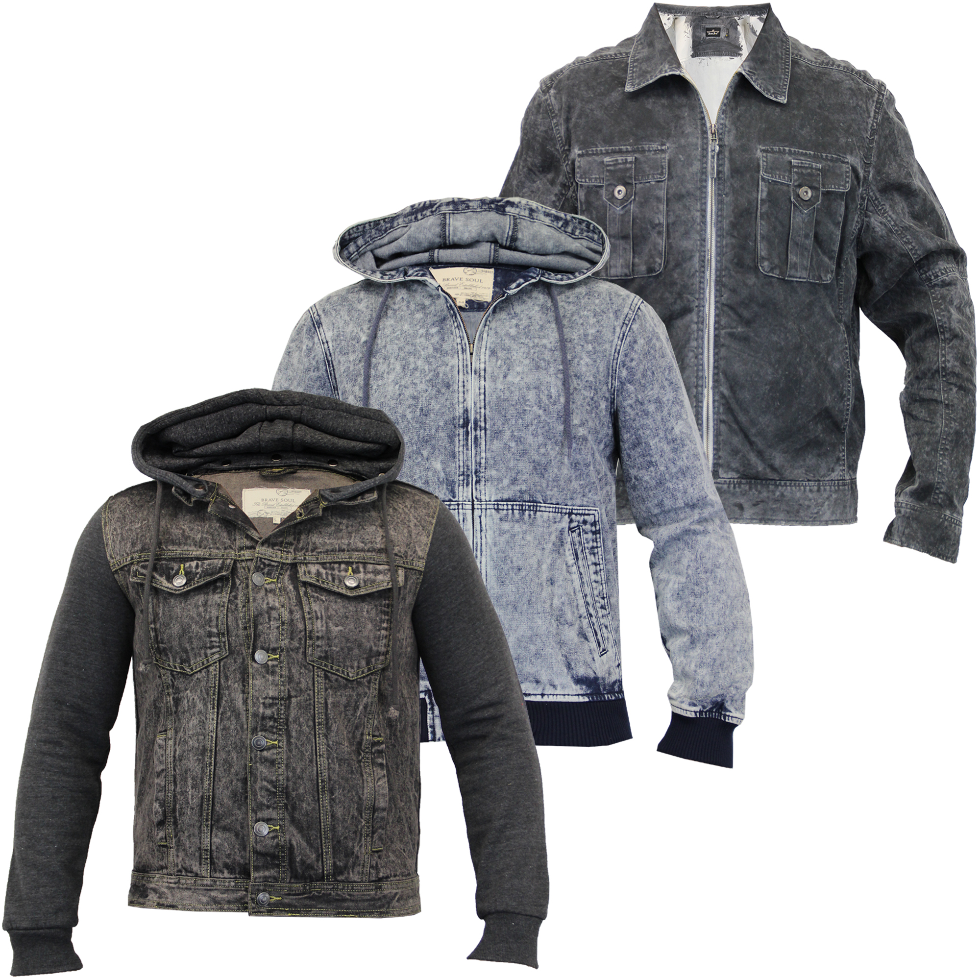 Mens Acid Wash Denim Hooded Jackets By Brave Soul | eBay