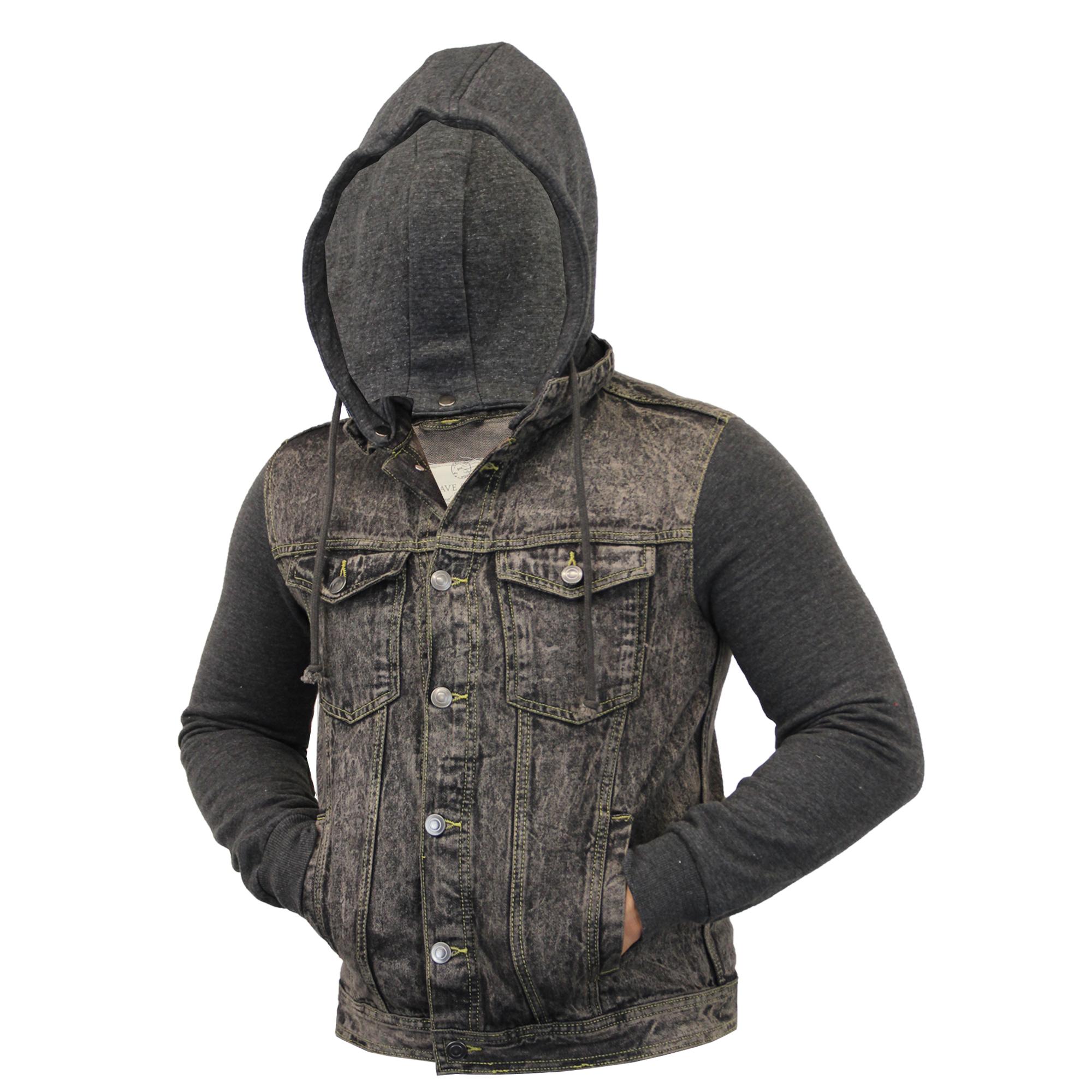 mens acid wash denim hooded jackets by brave soul ebay. Black Bedroom Furniture Sets. Home Design Ideas