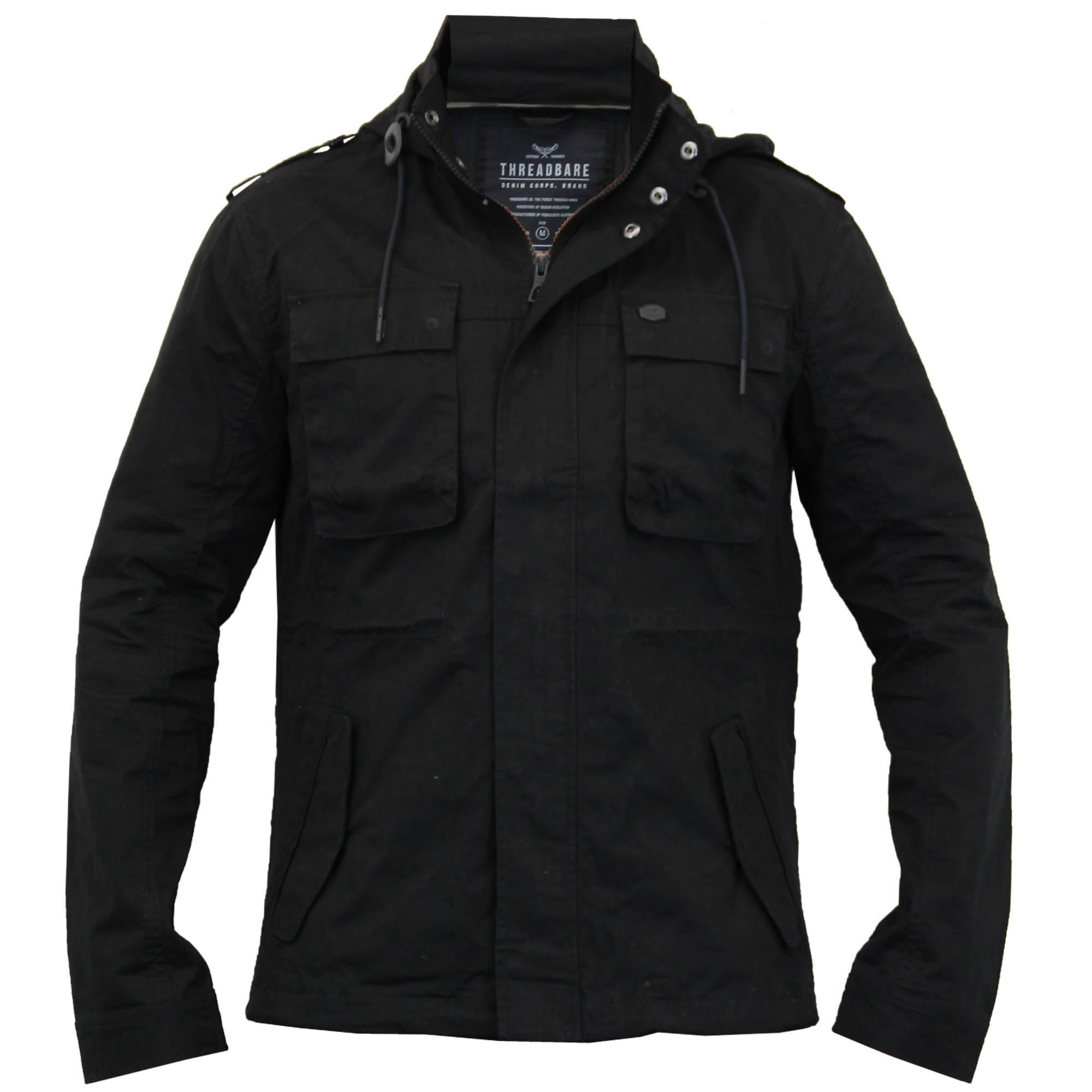 Mens Hooded Military Jacket By Threadbare | eBay
