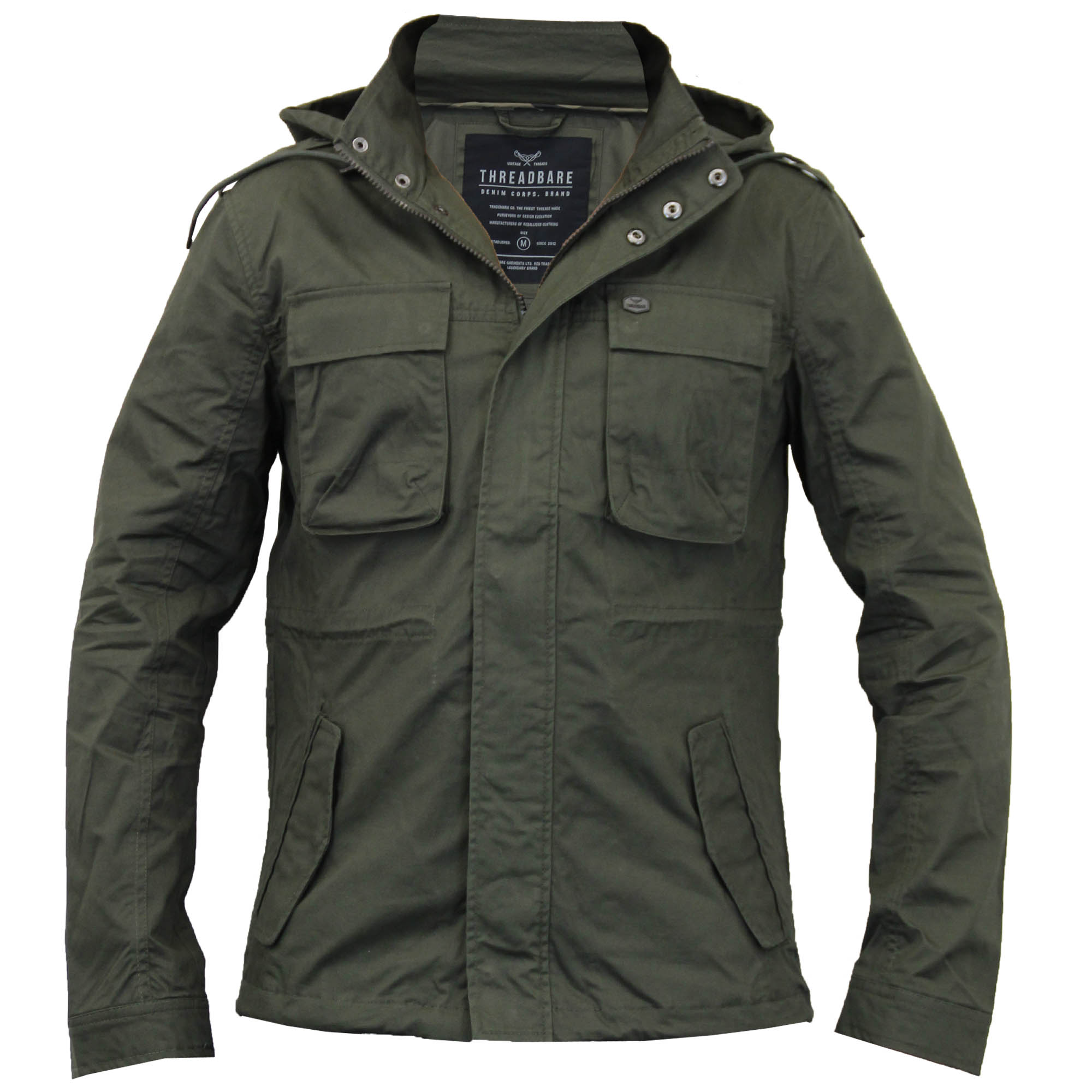 Utility and style merge for this men's hooded military jacket from Route This lightweight canvas jacket is decked out with multiple secure pockets. The drawstring hood includes a soft knit lining for comfort. A snap placket covers the front zipper to ensure coverage and create a .
