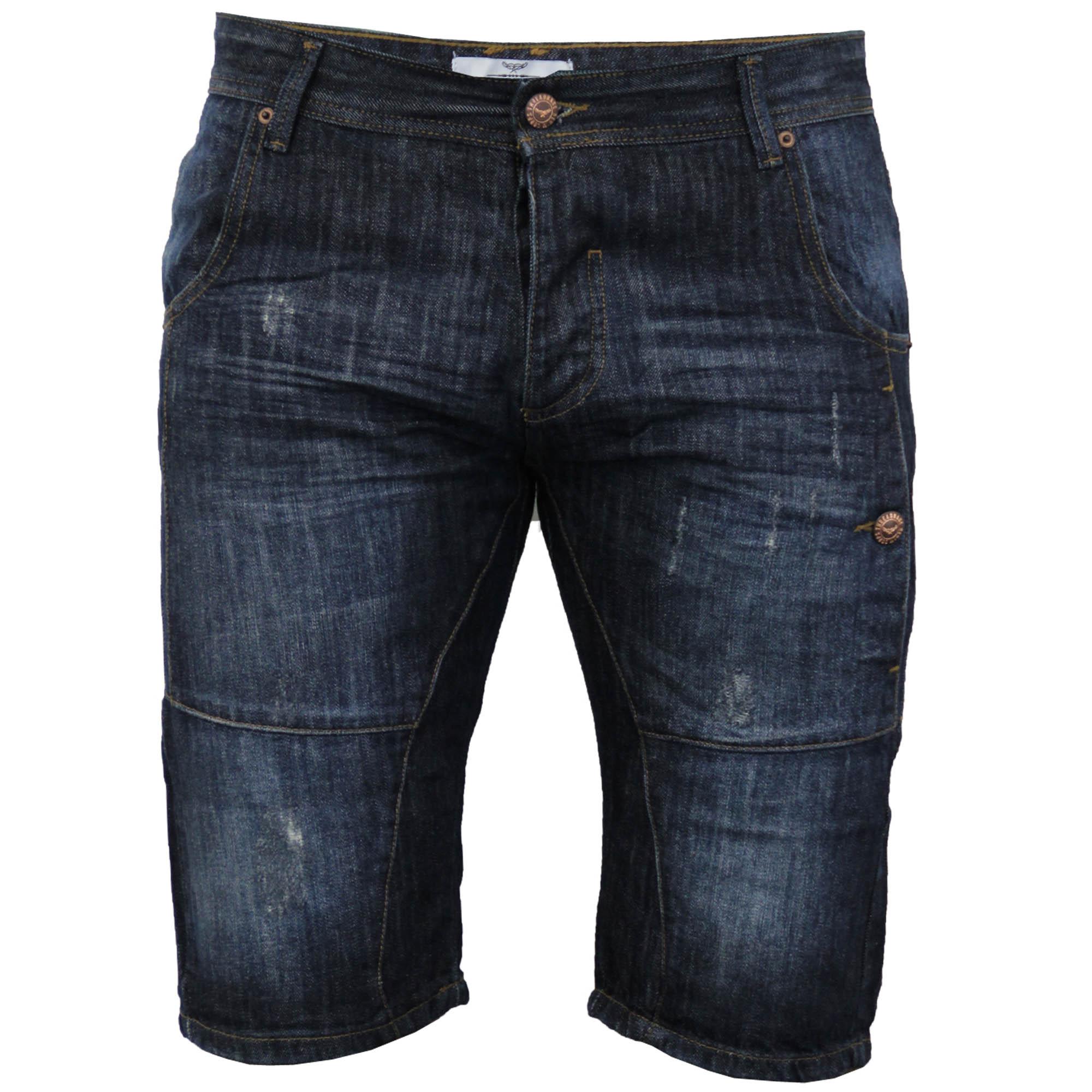 Mens Denim Knee Length Ripped Look Shorts By Threadbare   eBay