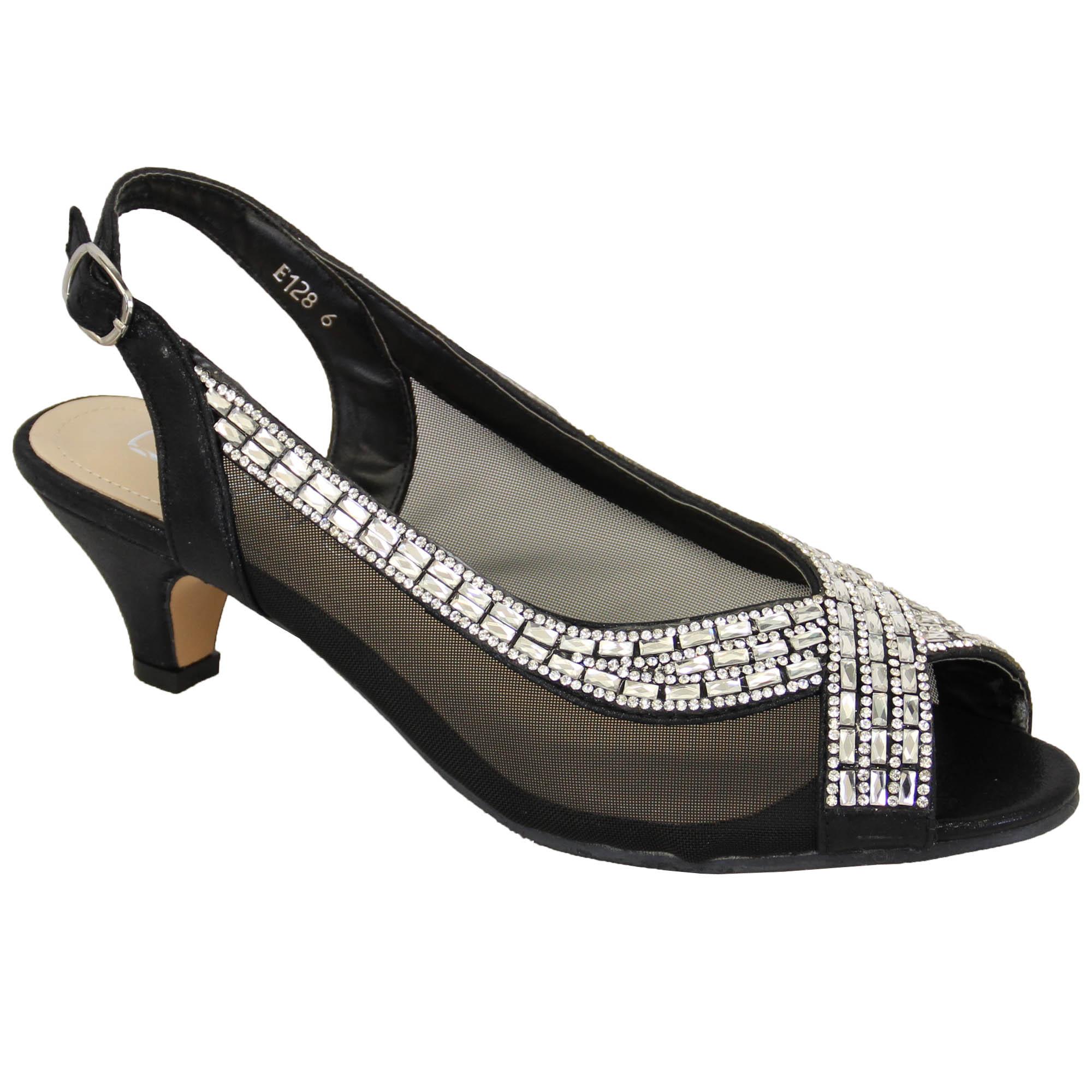 womens diamante kitten heel sandals shoes by kelsi