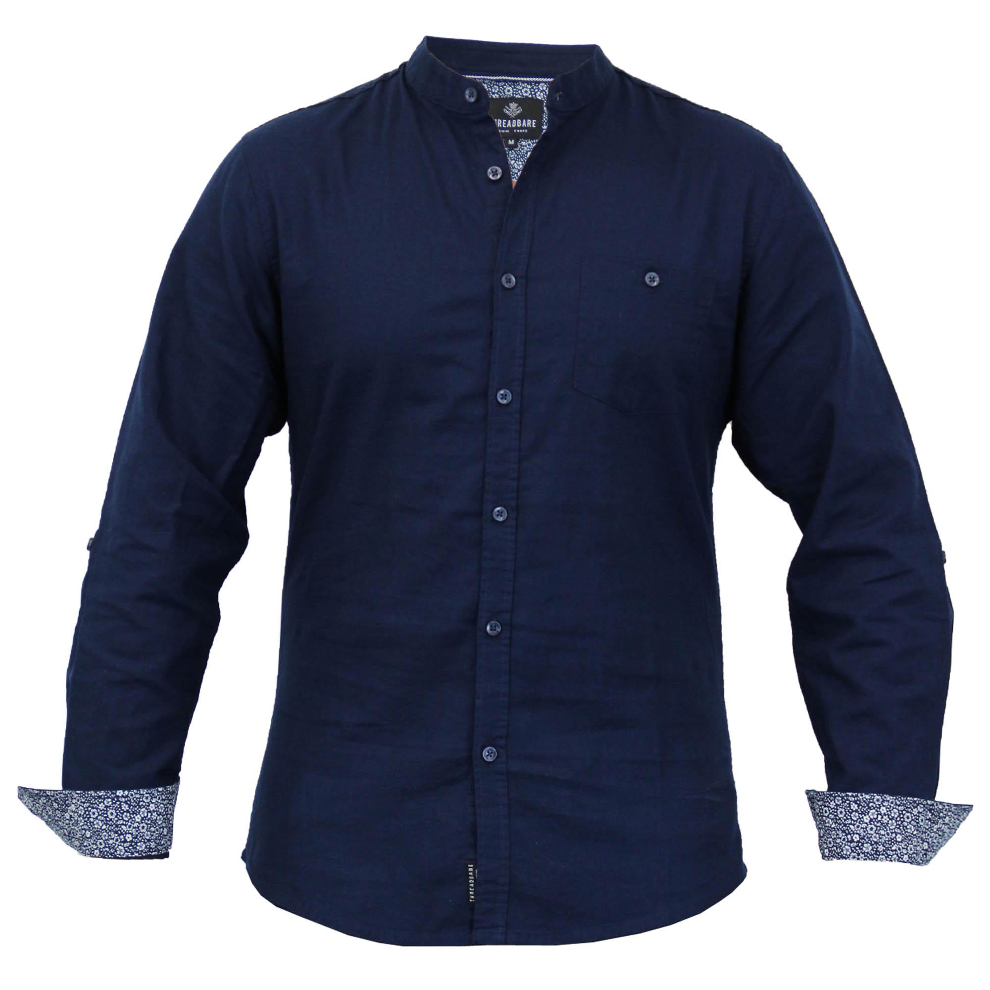Mens casual linen long sleeved grandad collar shirts by Mens grandad collar shirt