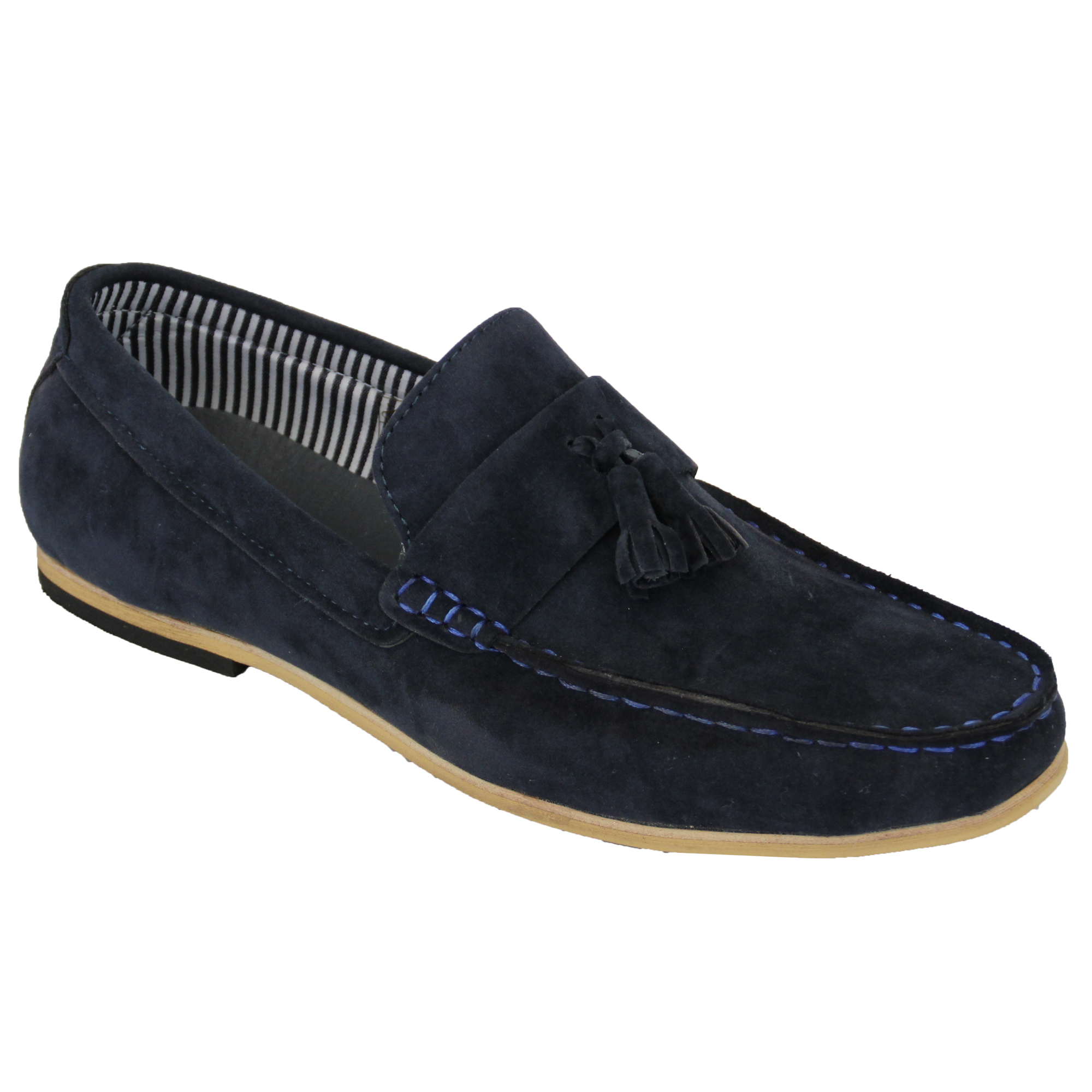 mens moccasins suede look loafers slip on boat shoes by