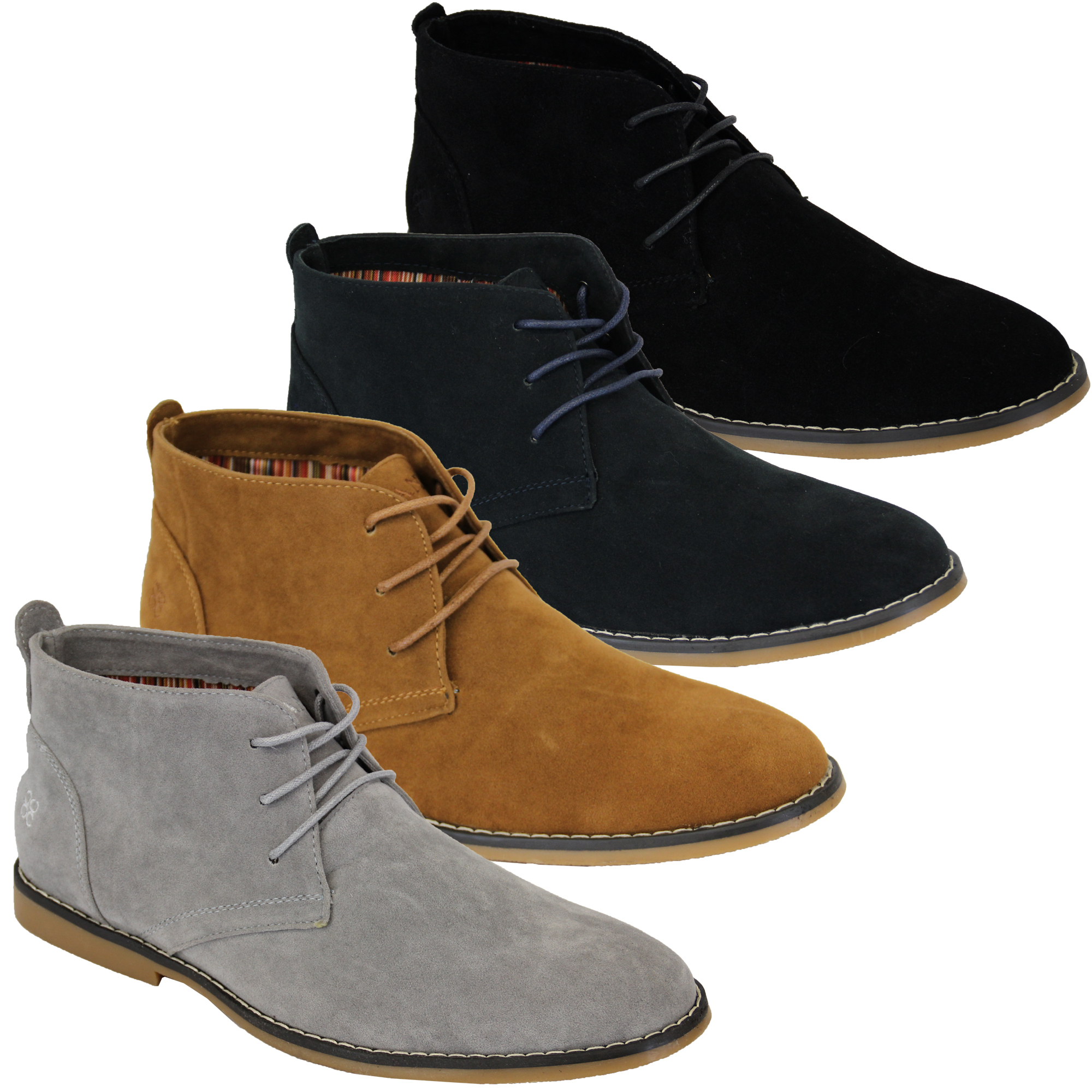 Mens Suede Look Desert Boots High Top Lace Up Shoes By Cavani | eBay