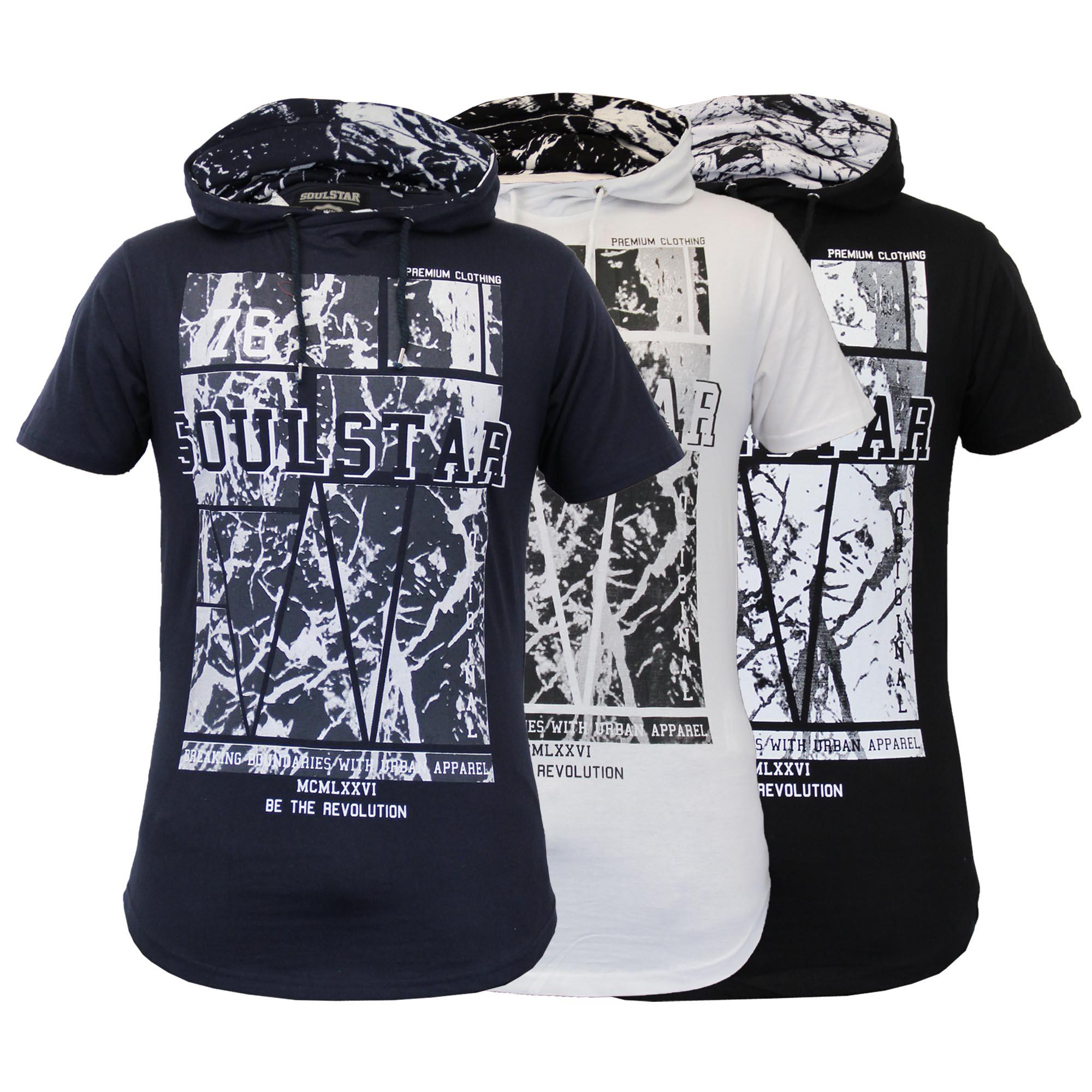 Mens short sleeved long line hooded printed top t shirts for Long line short sleeve t shirt
