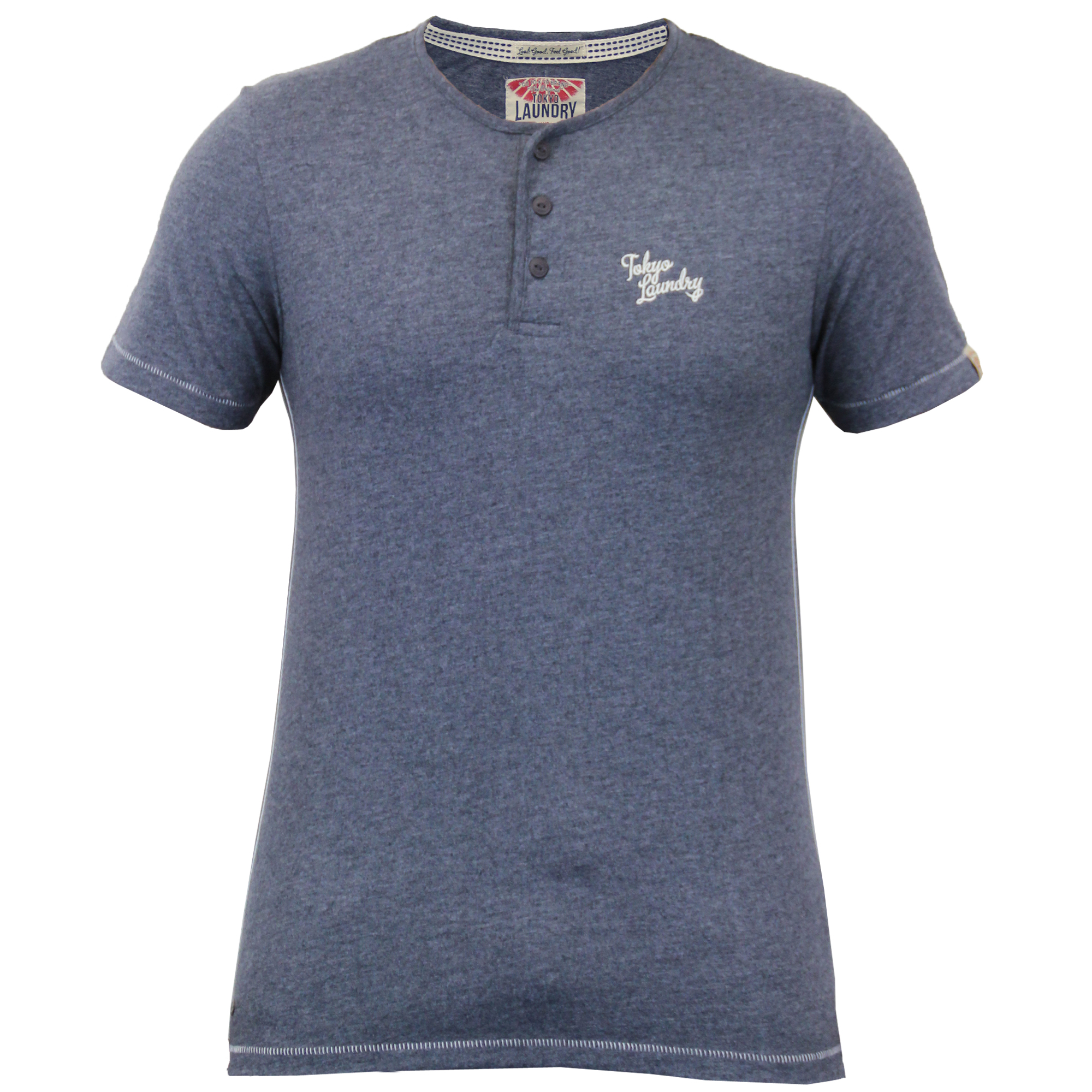 Mens short sleeved jersey t shirts by tokyo laundry for Short sleeve grandad shirt