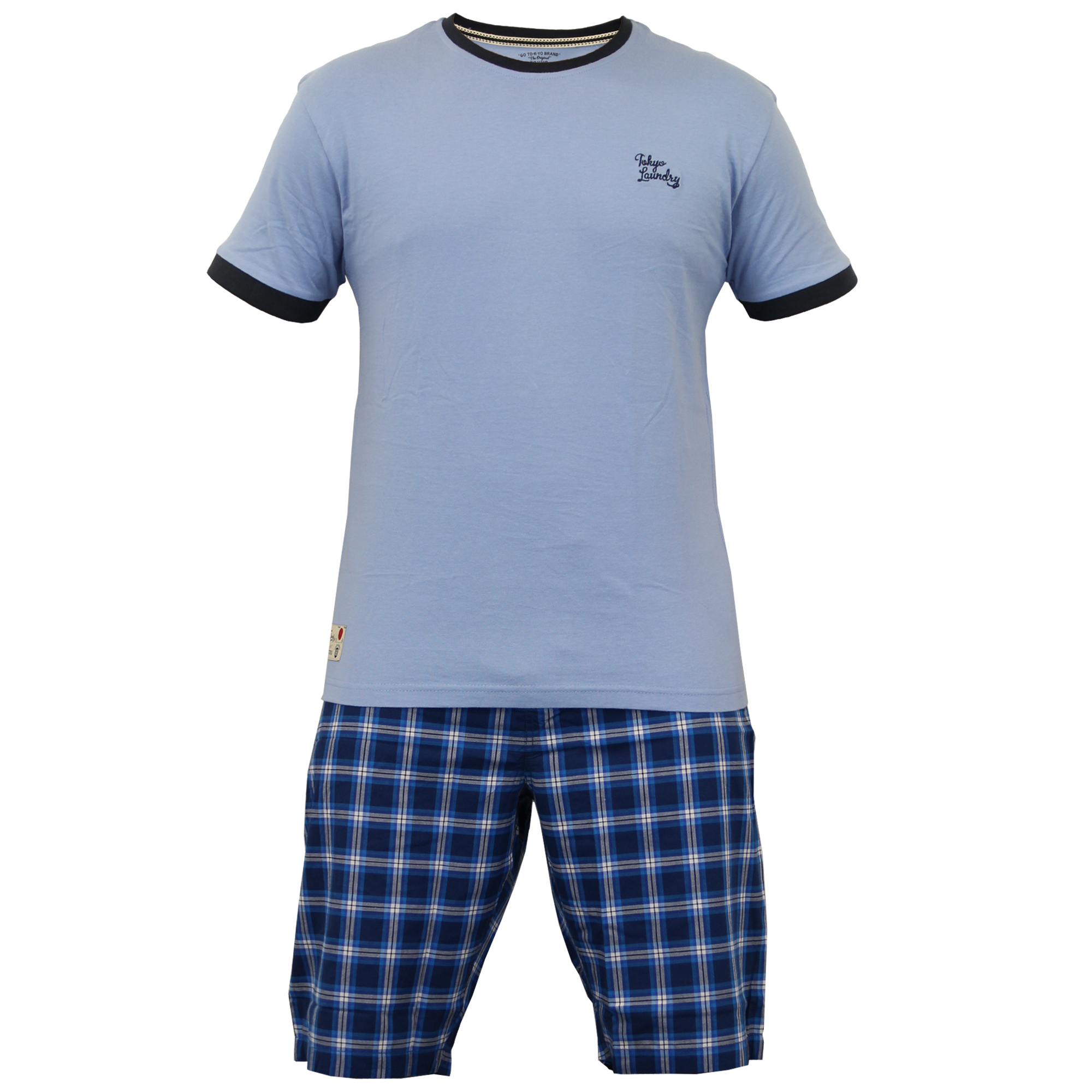 Mens t shirt shorts loungewear checked pyjamas set by T shirt and shorts pyjamas