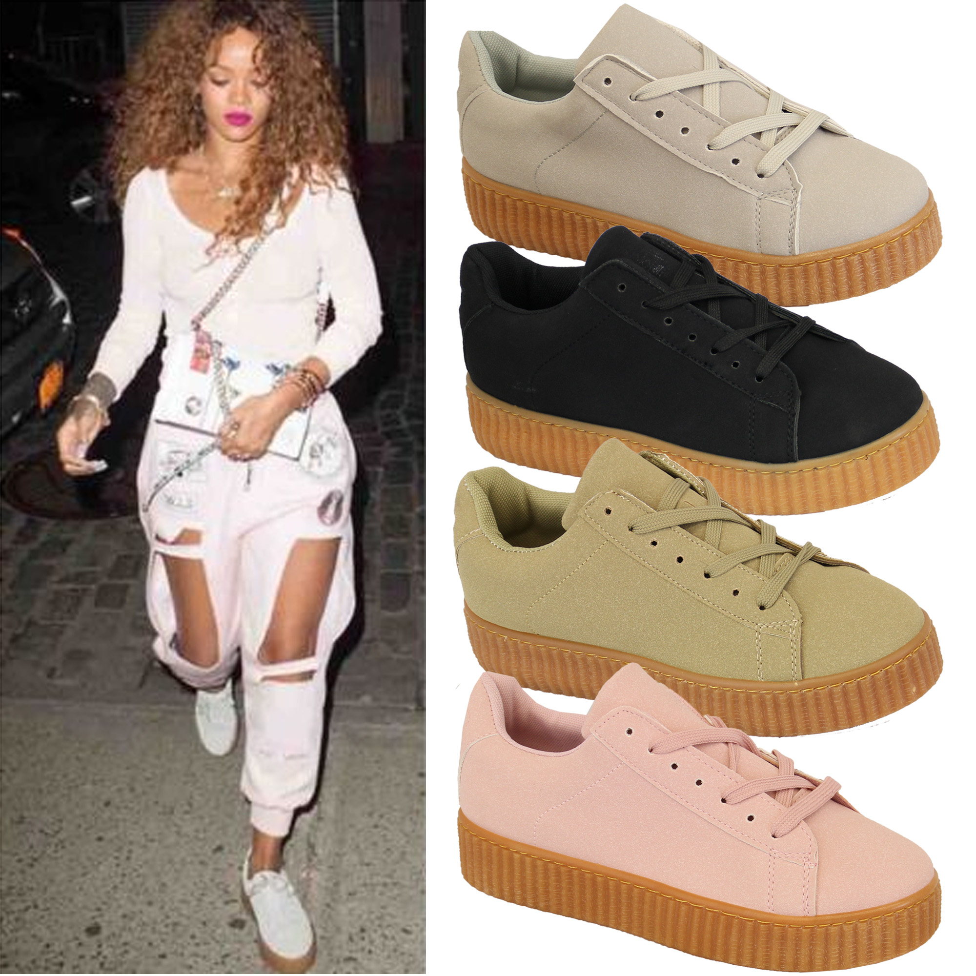 Ladies Womens Creepers Pumps Trainers Lace Up Platform Flatform ...