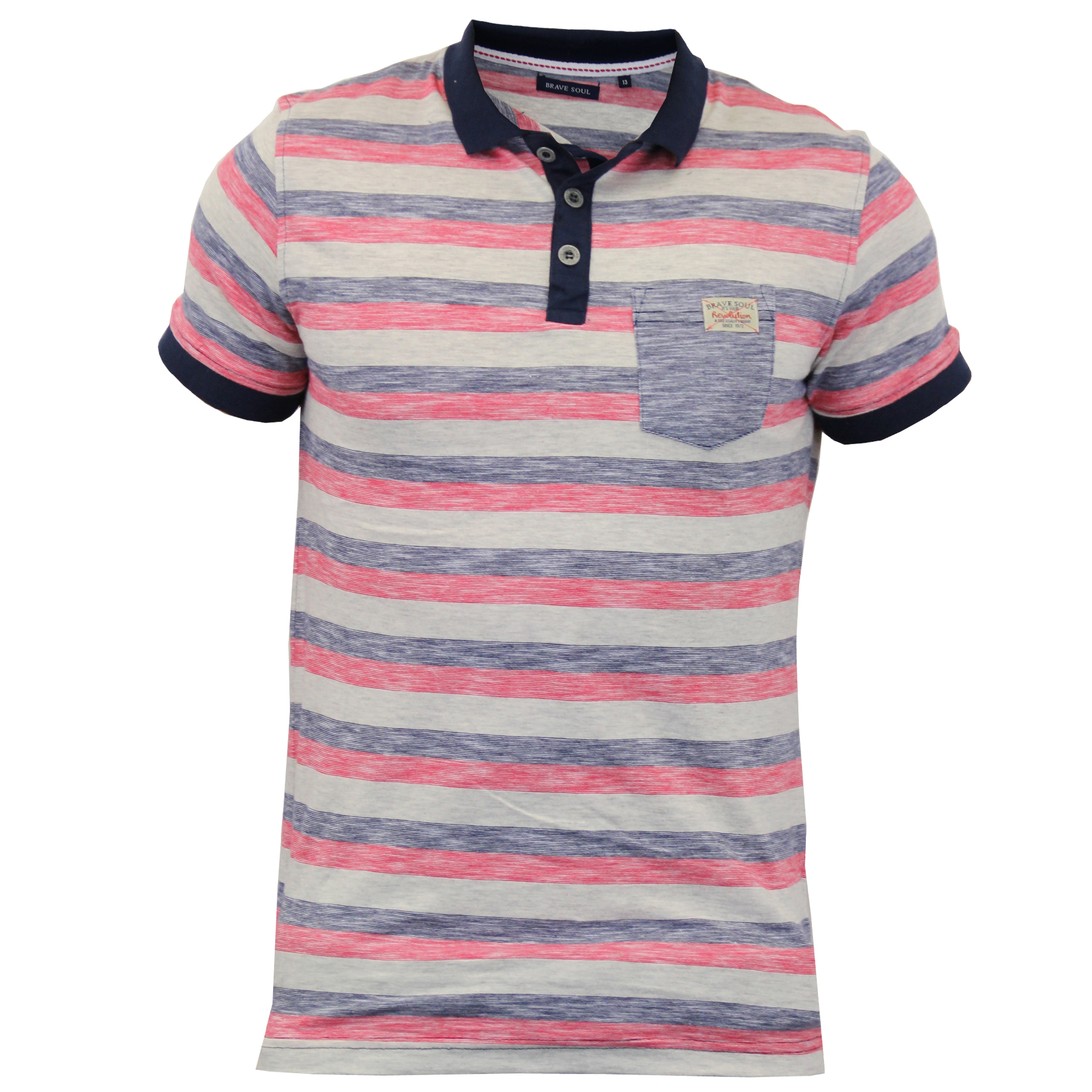 Boys kids short sleeved striped polo shirts by brave soul for Boys striped polo shirts
