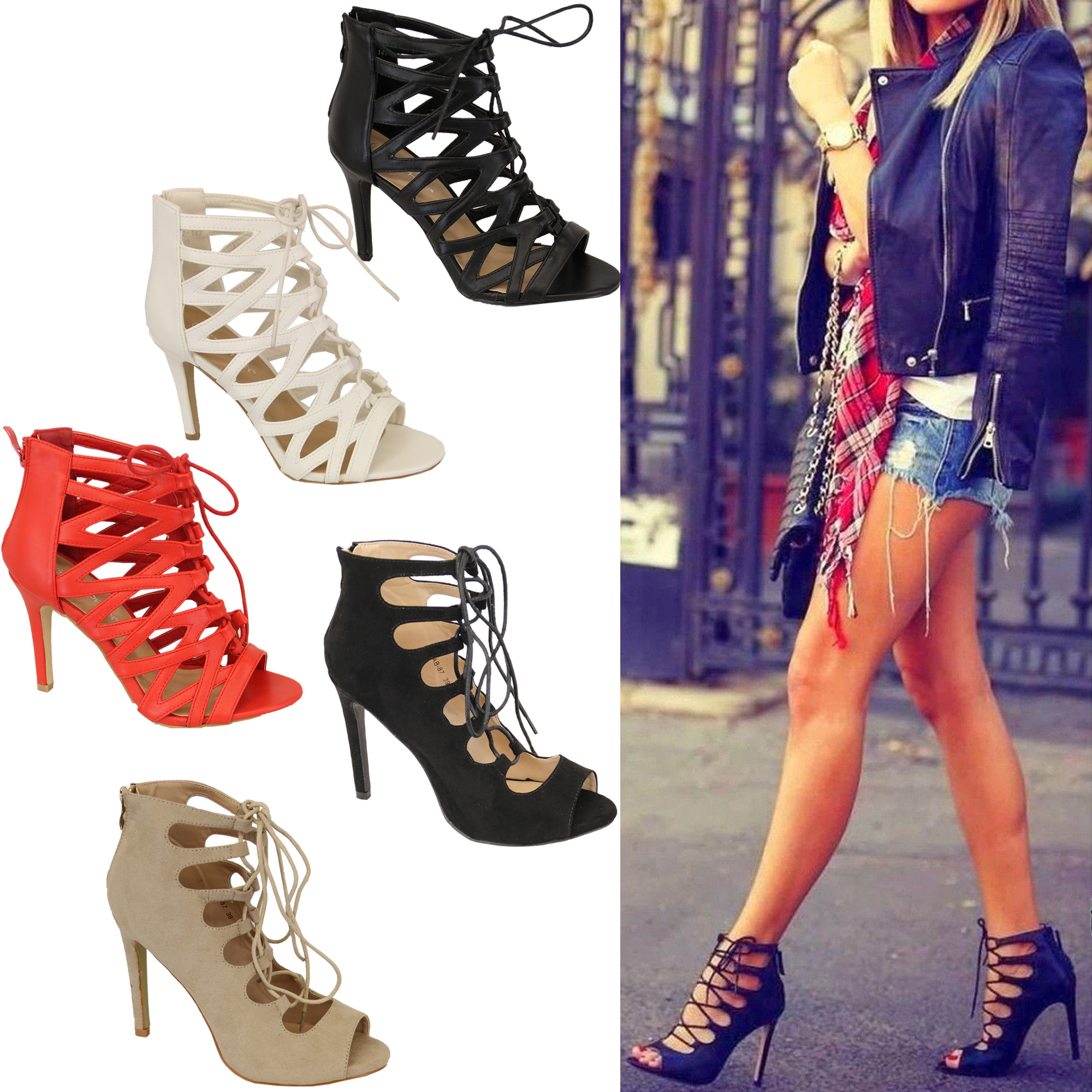Ladies Womens Lace Up High Heel Peep Toe Gladiator Tie Up Ankle ...