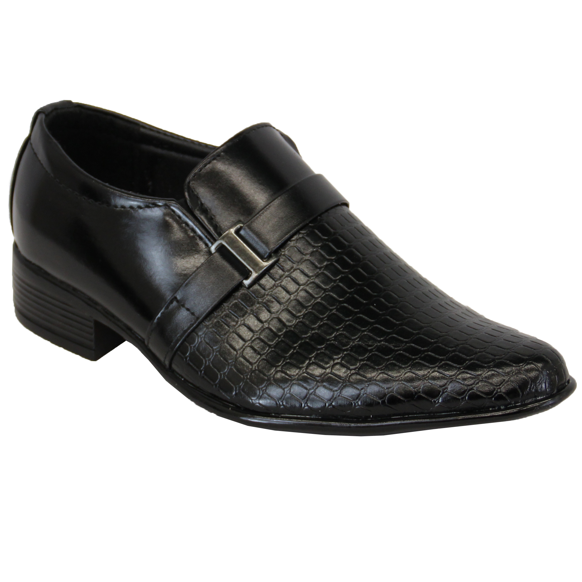 boys leather look school wedding formal smart slip on