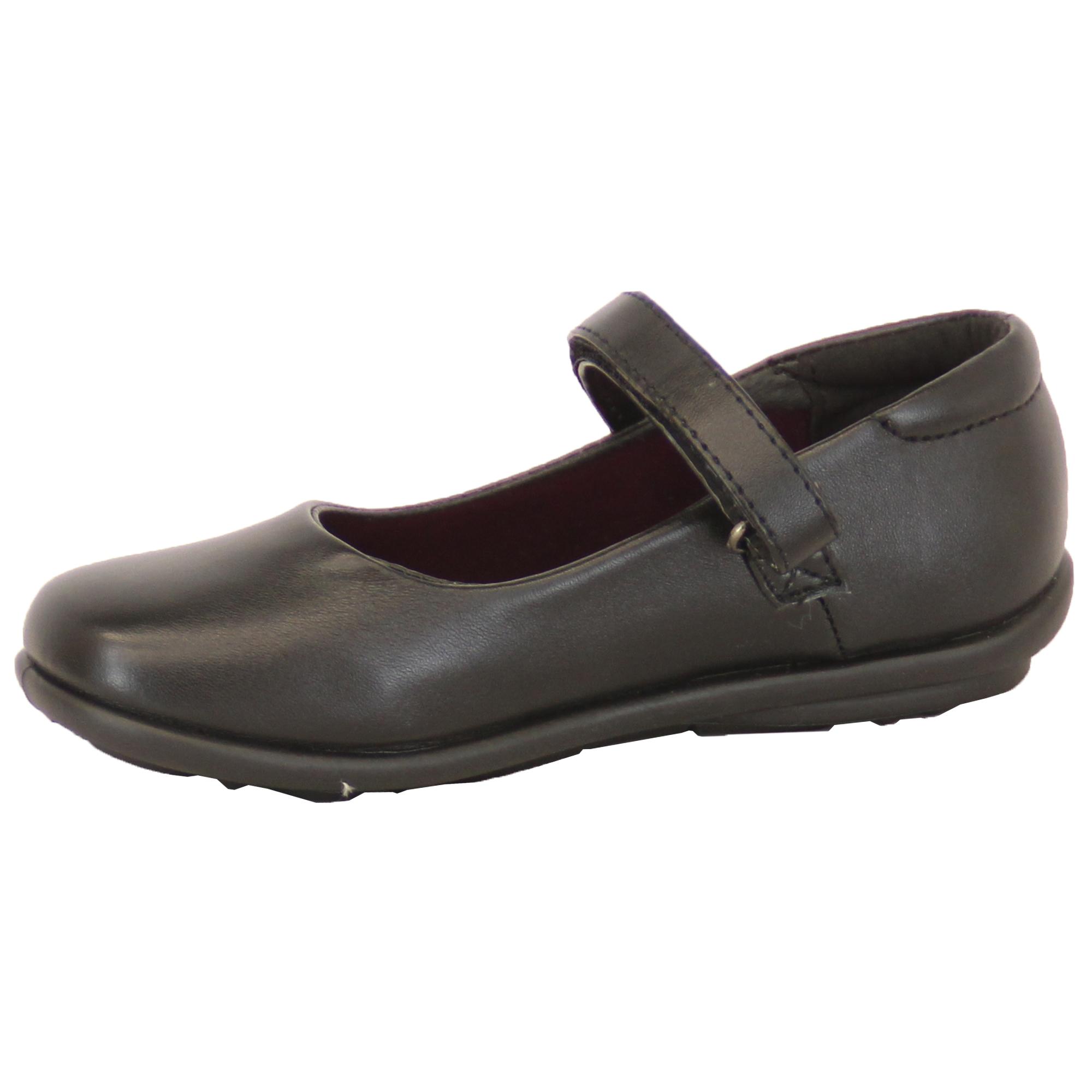 Girls Kids Leather Look Velcro School Shoes