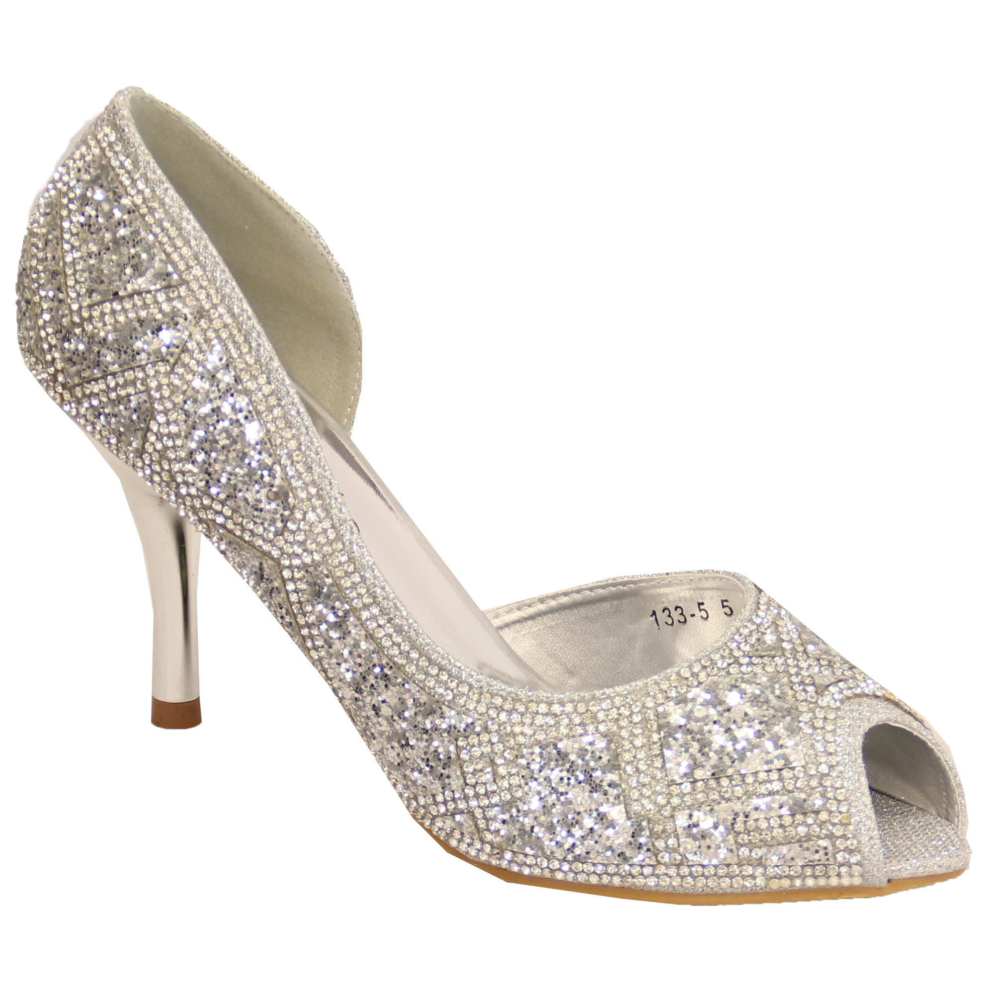 Ladies Womens Diamante Glitter Peep Toe Mid Heel Sandals Shoes By ...