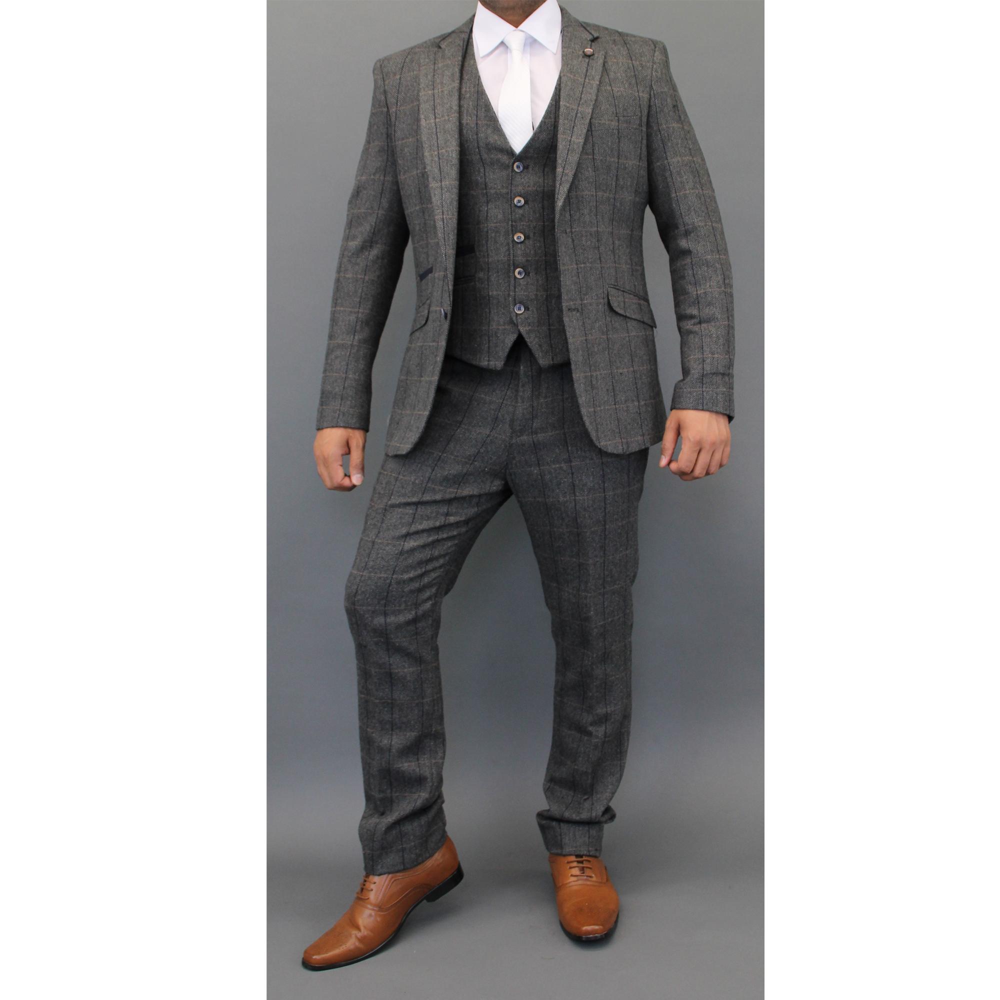 Mens Wool Mix Tweed Checked Blazers Waistcoats Trouser 3 Piece ...