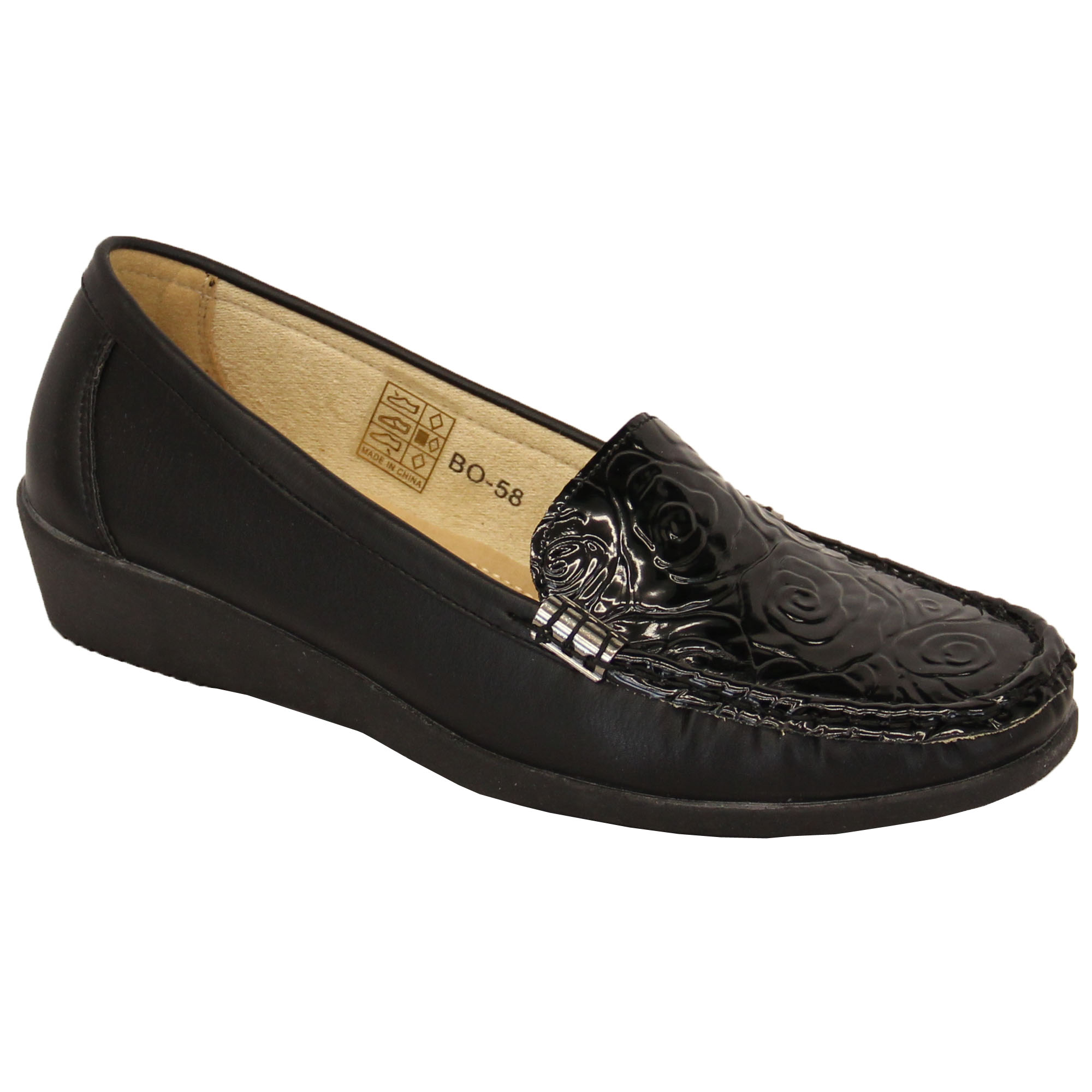 Ladies Womens Loafers Slip On Patent Look Moccasins Shoes ...